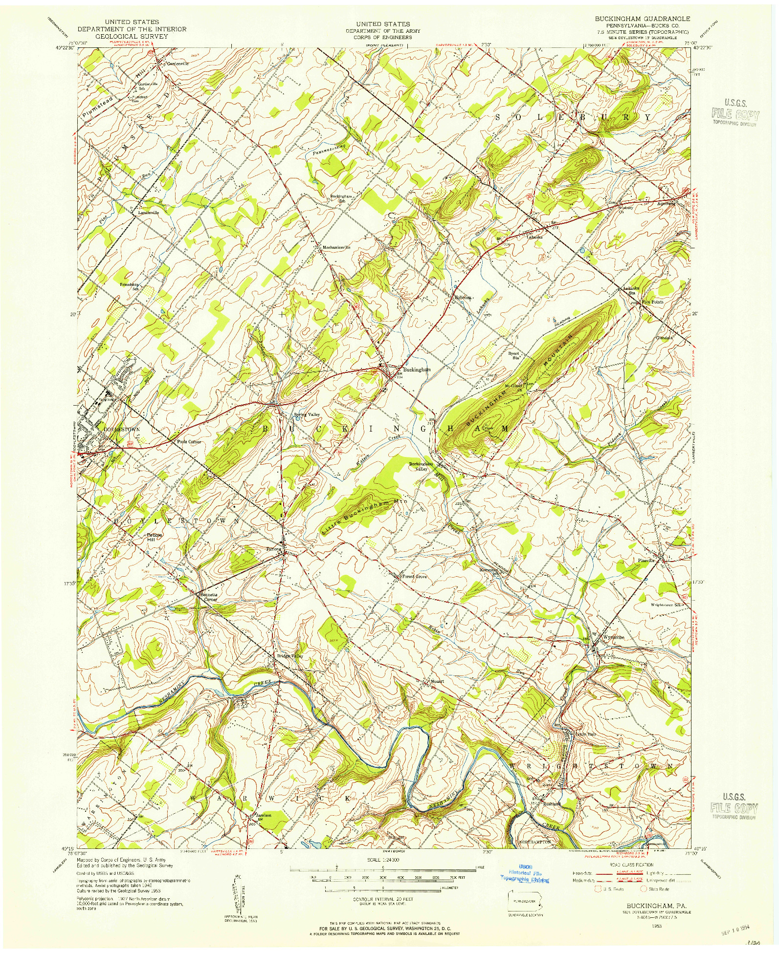 USGS 1:24000-SCALE QUADRANGLE FOR BUCKINGHAM, PA 1953