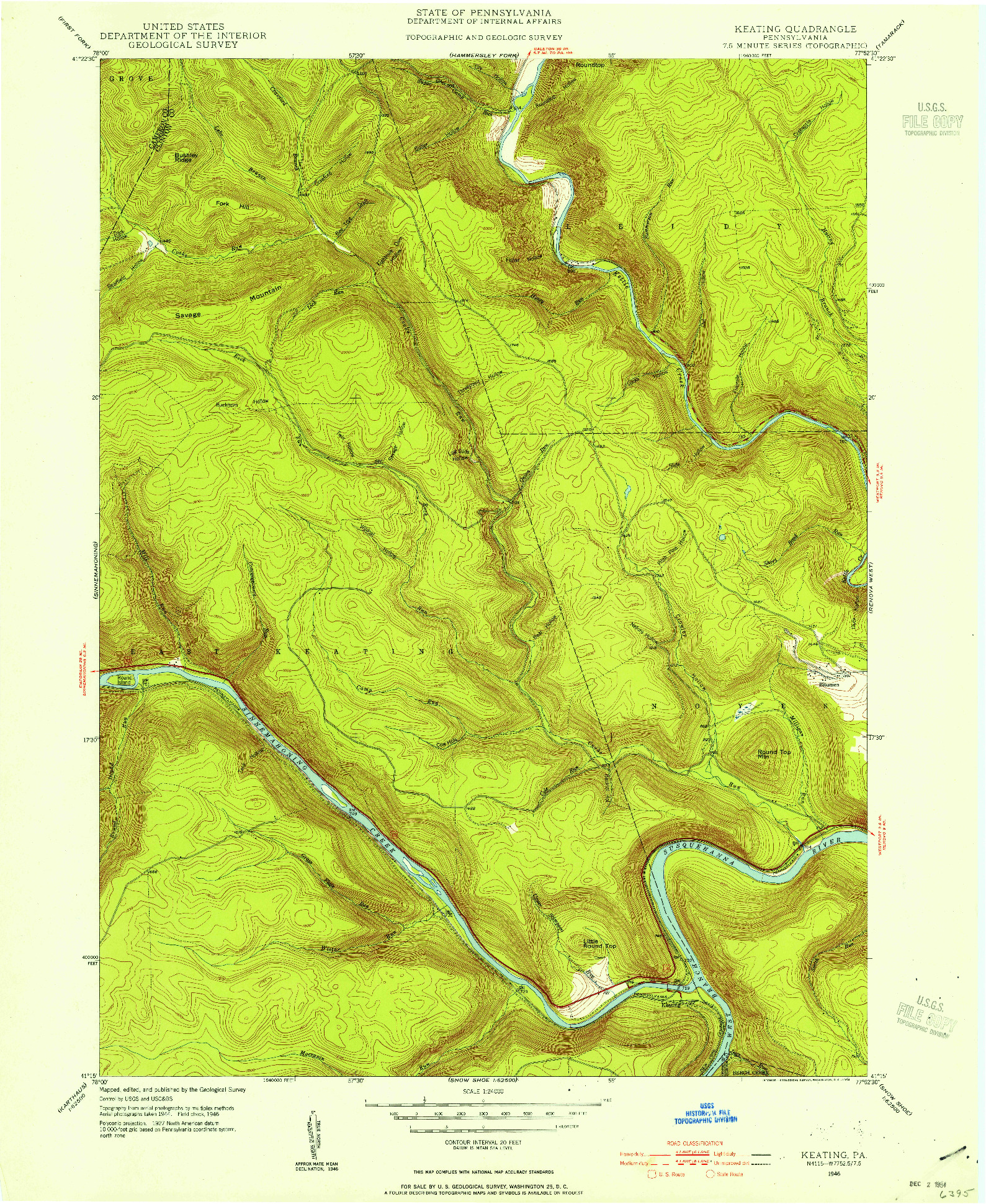 USGS 1:24000-SCALE QUADRANGLE FOR KEATING, PA 1946