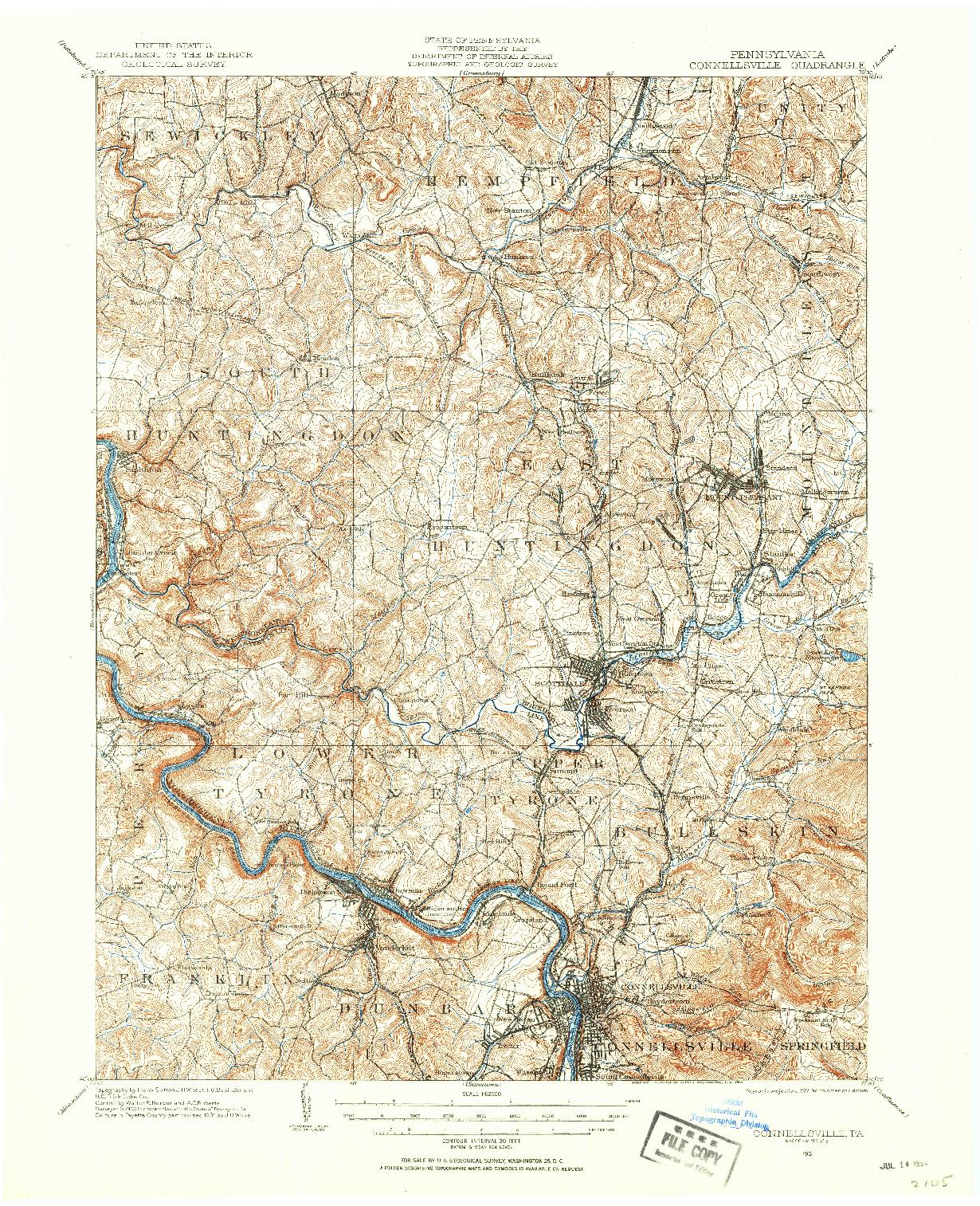 USGS 1:62500-SCALE QUADRANGLE FOR CONNELLSVILLE, PA 1931