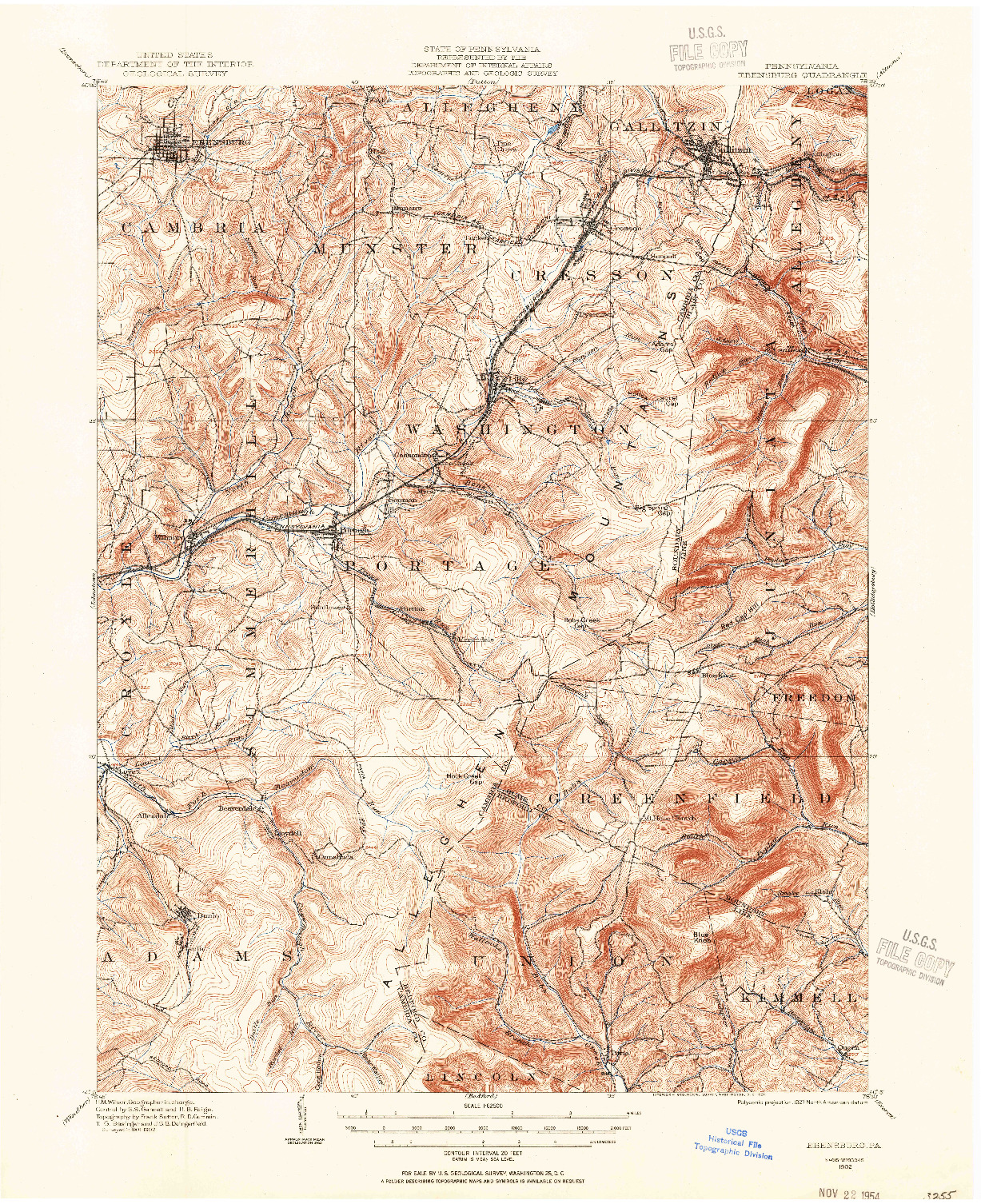 USGS 1:62500-SCALE QUADRANGLE FOR EBENSBURG, PA 1902