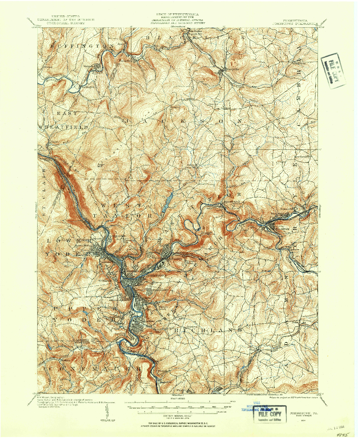 USGS 1:62500-SCALE QUADRANGLE FOR JOHNSTOWN, PA 1904