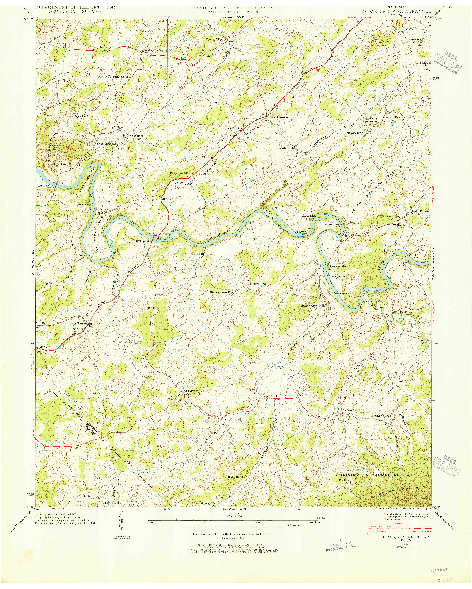 USGS 1:24000-SCALE QUADRANGLE FOR CEDAR CREEK, TN 1939