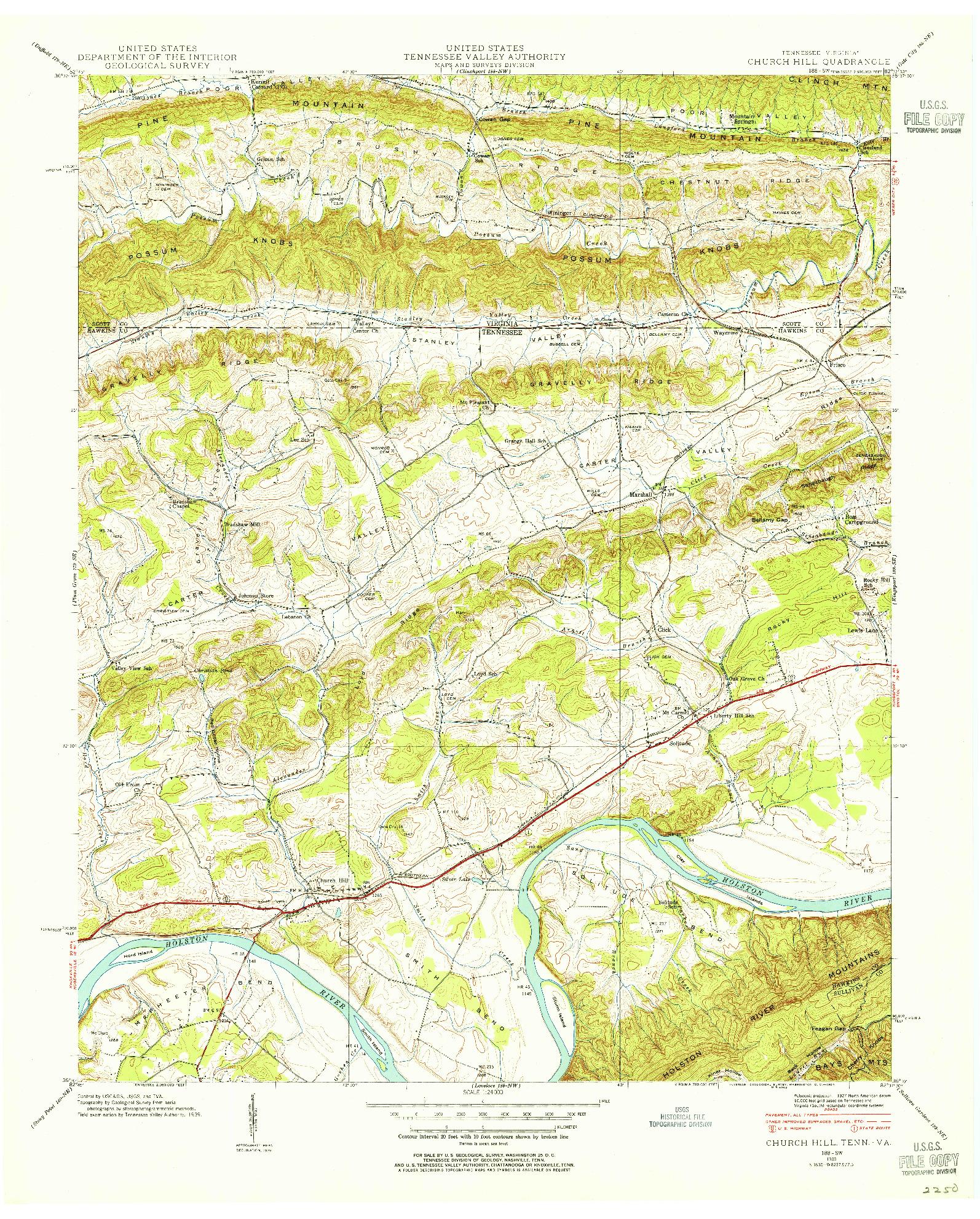 USGS 1:24000-SCALE QUADRANGLE FOR CHURCH HILL, TN 1939