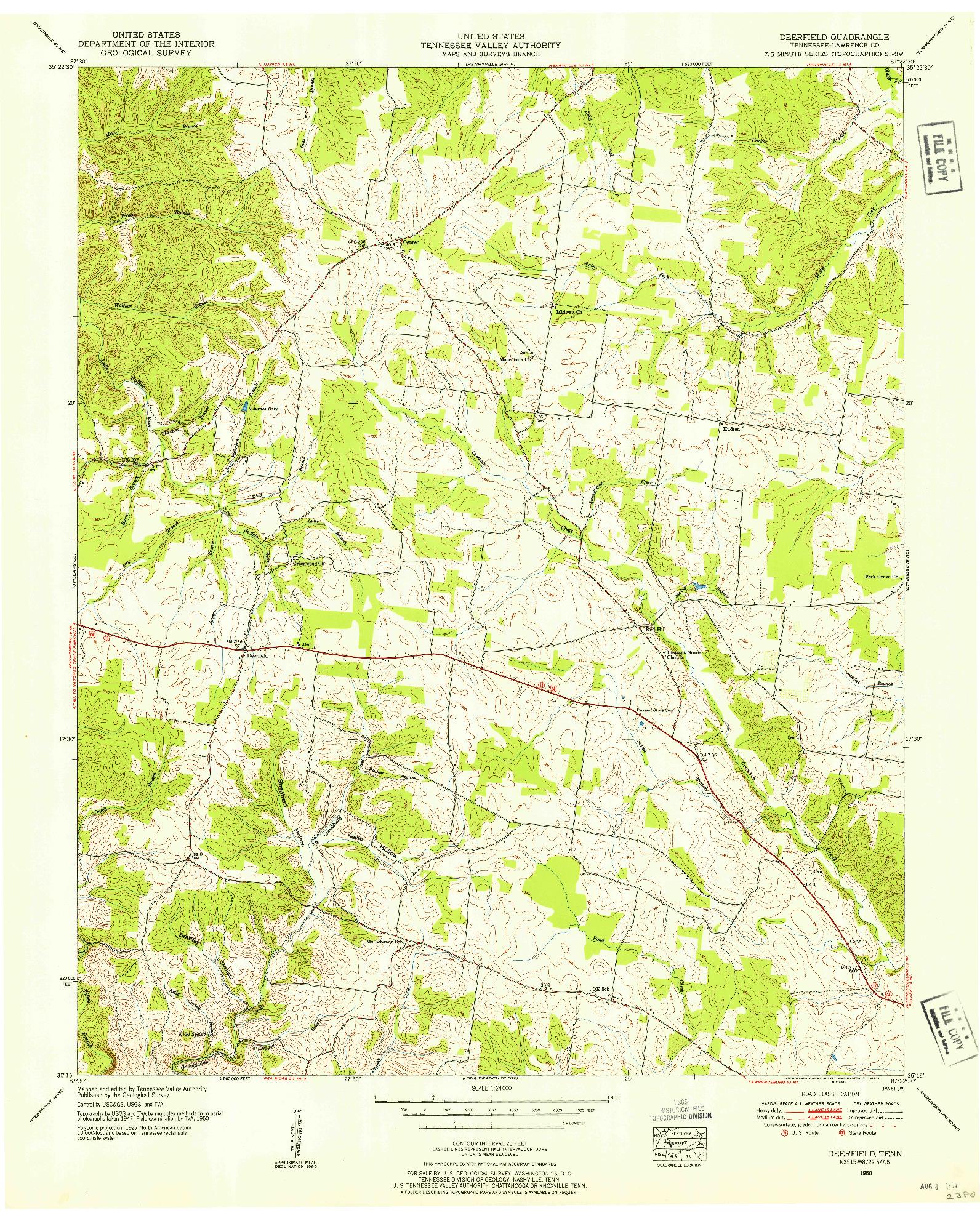 USGS 1:24000-SCALE QUADRANGLE FOR DEERFIELD, TN 1950