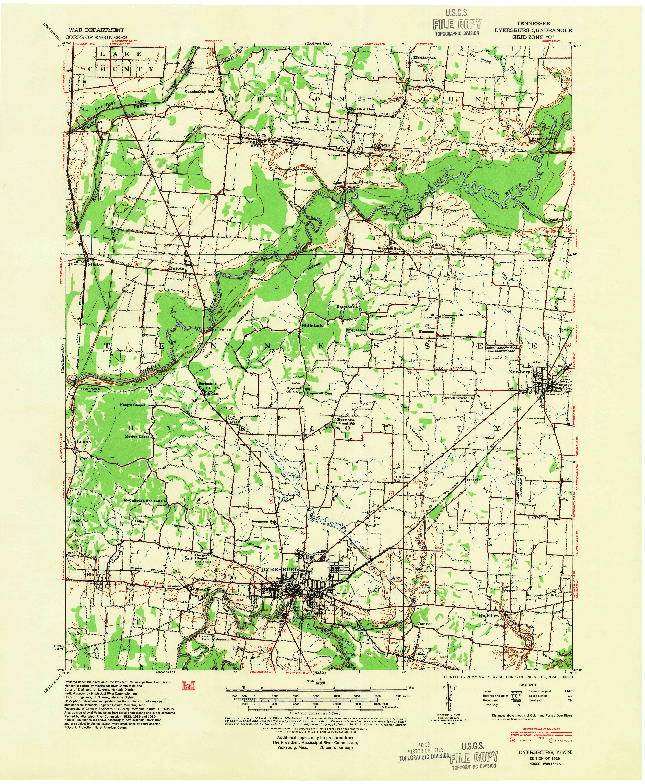 USGS 1:62500-SCALE QUADRANGLE FOR DYERSBURG, TN 1939