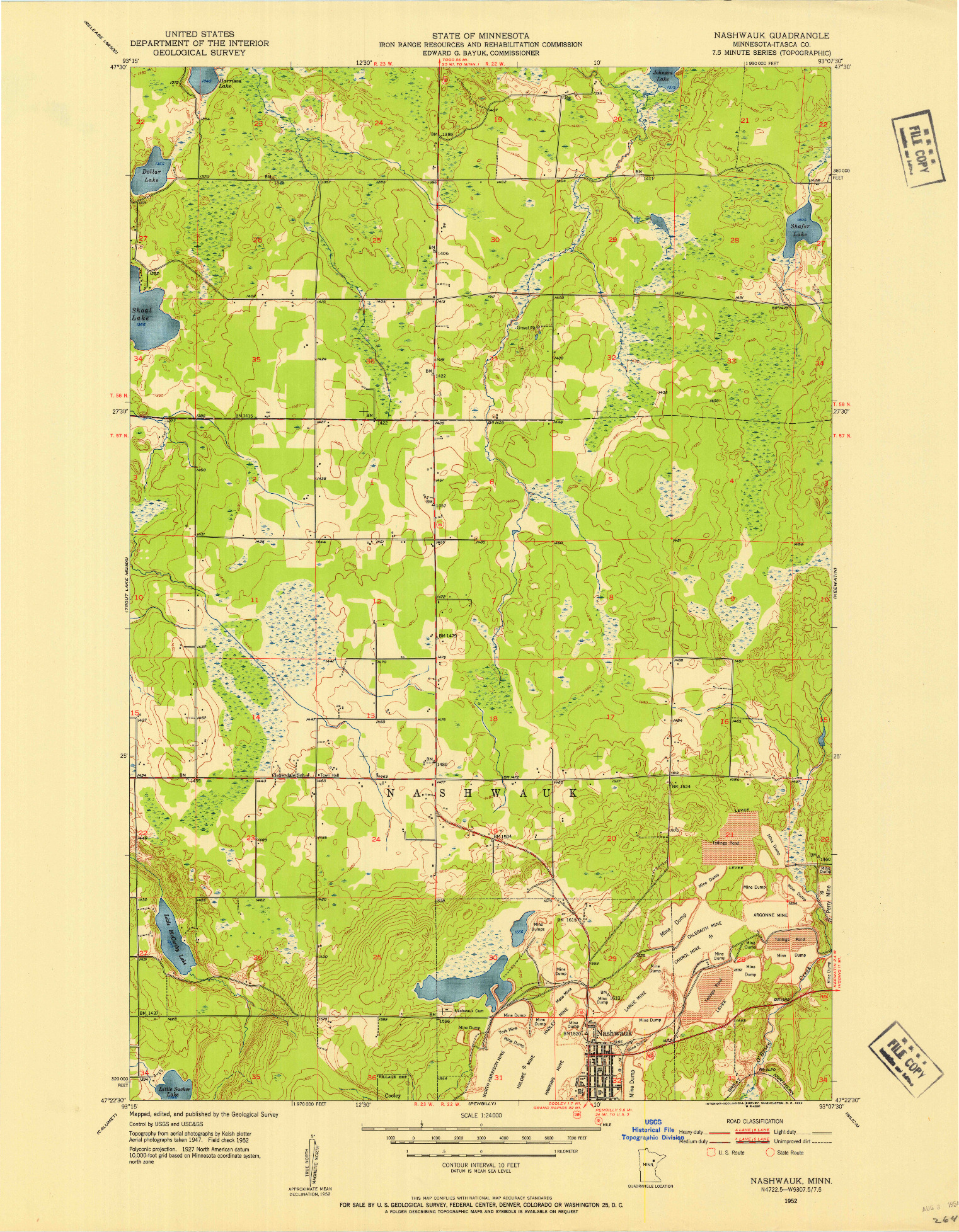 USGS 1:24000-SCALE QUADRANGLE FOR NASHWAUK, MN 1952