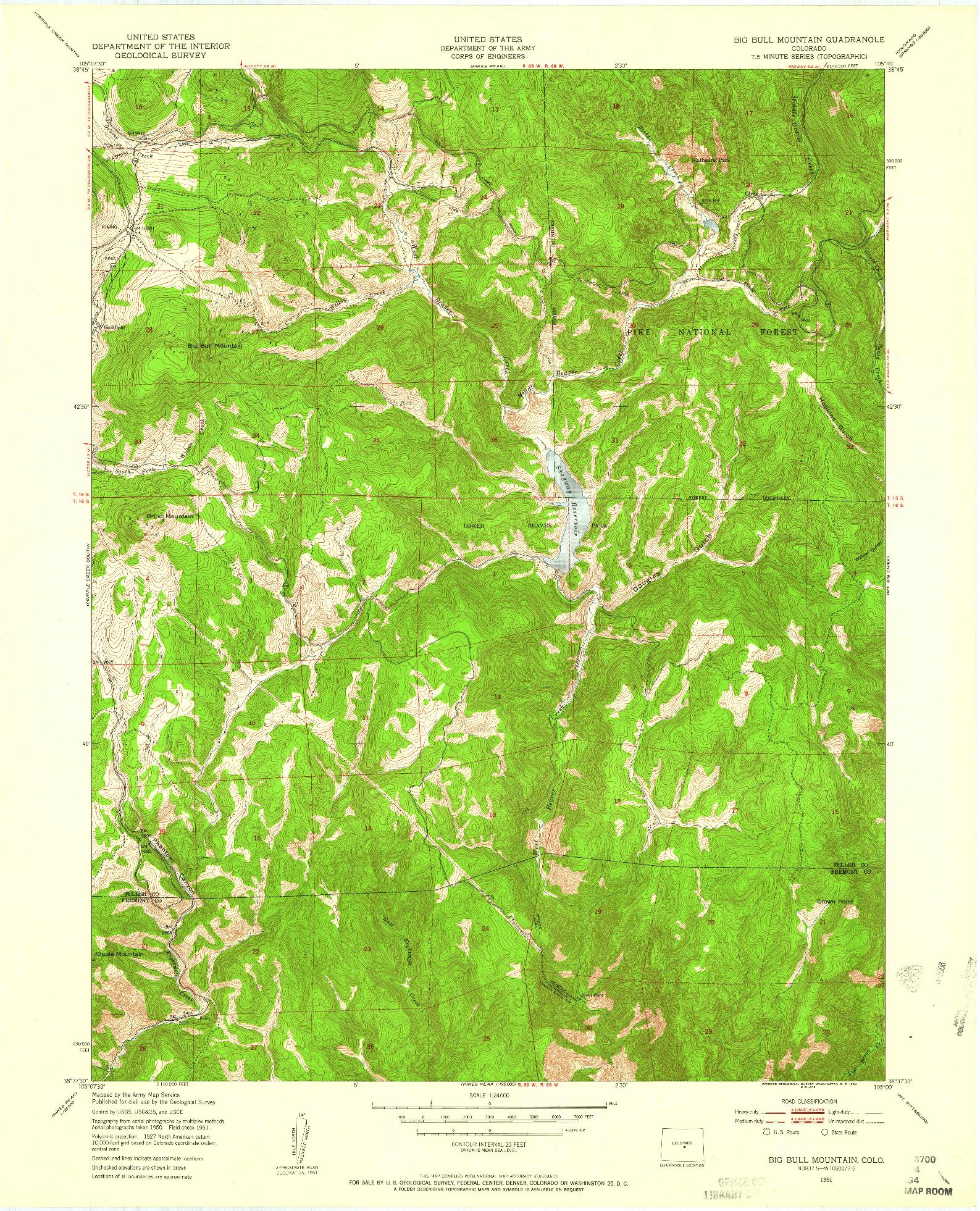 USGS 1:24000-SCALE QUADRANGLE FOR BIG BULL MOUNTAIN, CO 1951