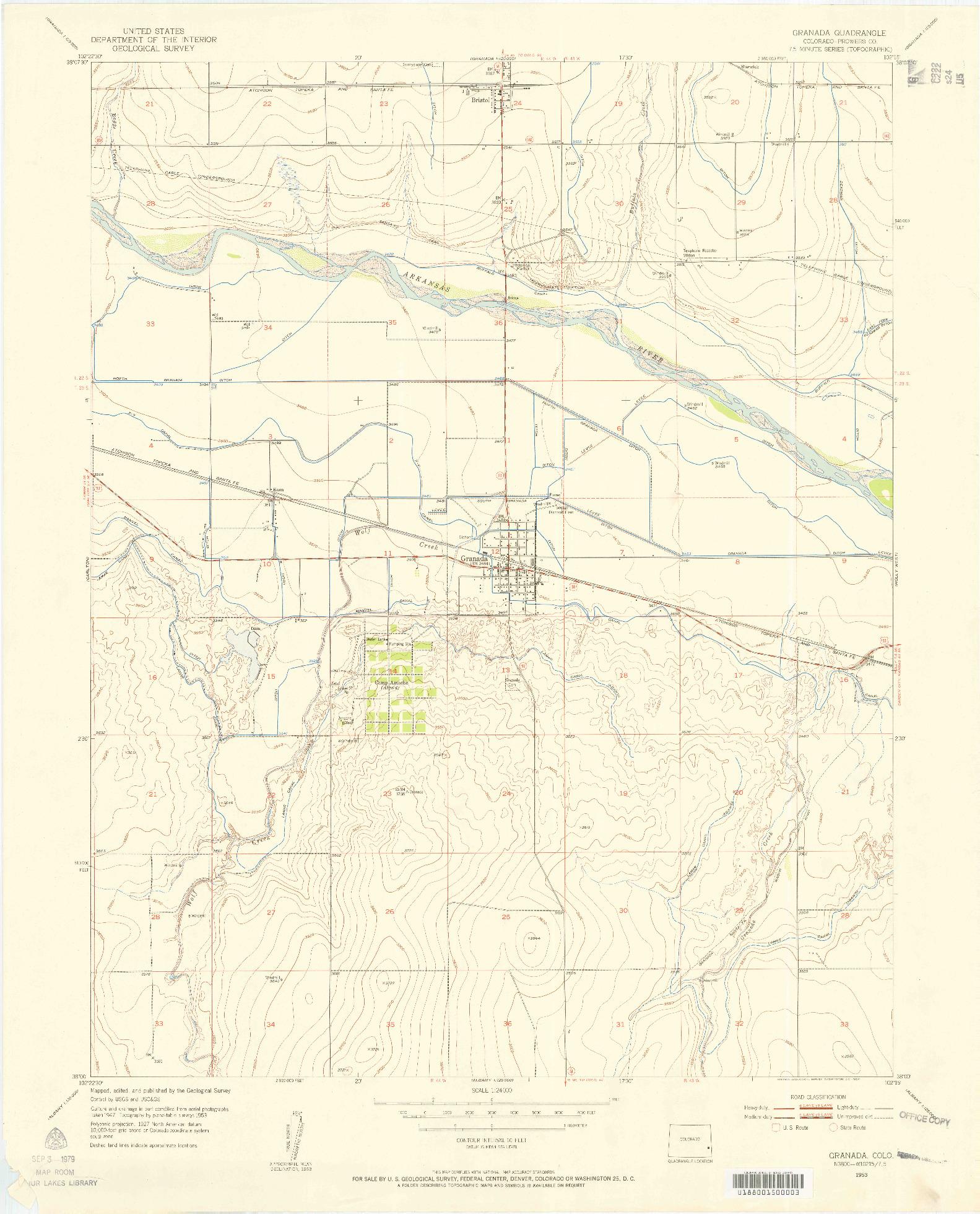 USGS 1:24000-SCALE QUADRANGLE FOR GRANADA, CO 1953