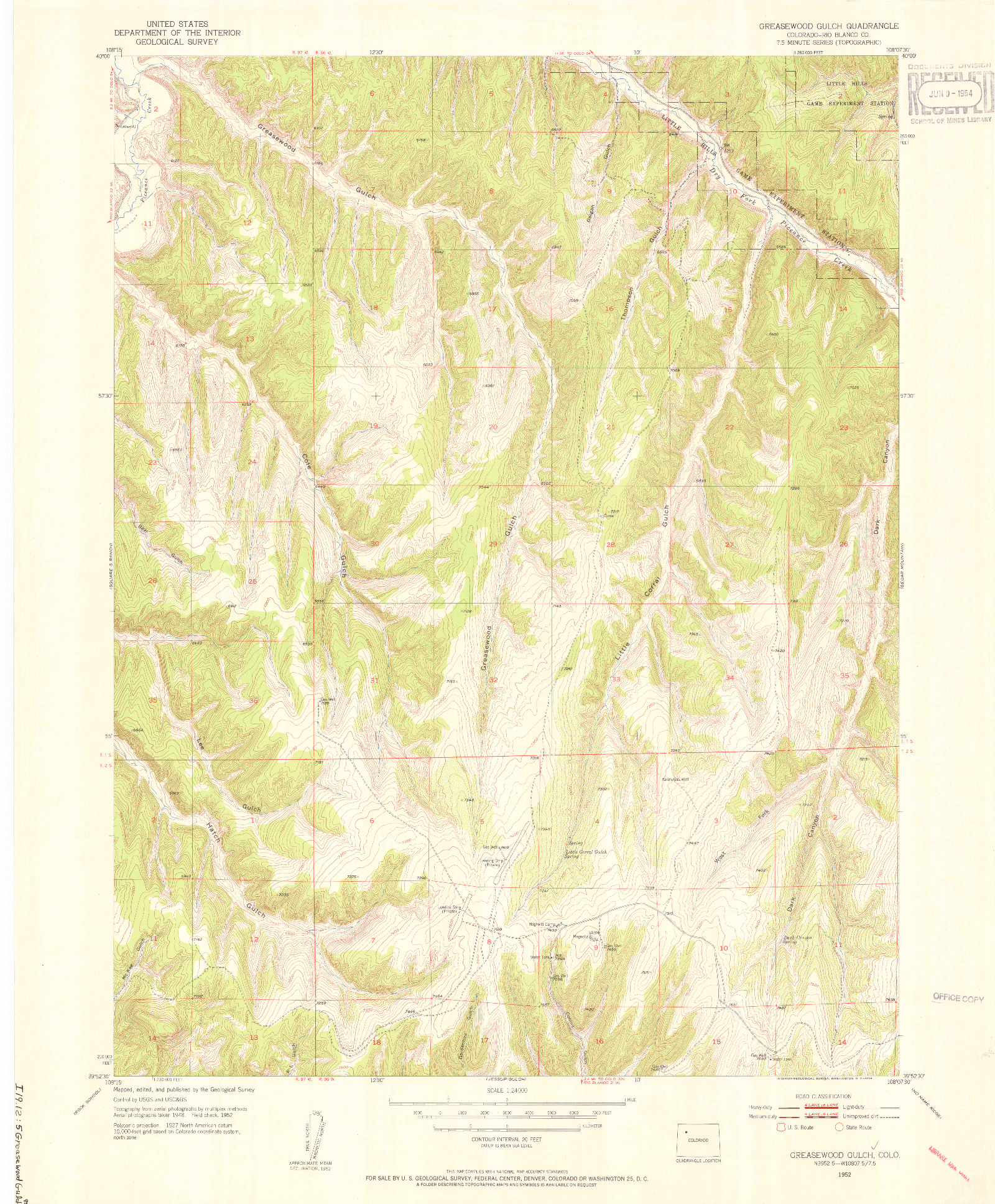 USGS 1:24000-SCALE QUADRANGLE FOR GREASEWOOD GULCH, CO 1952
