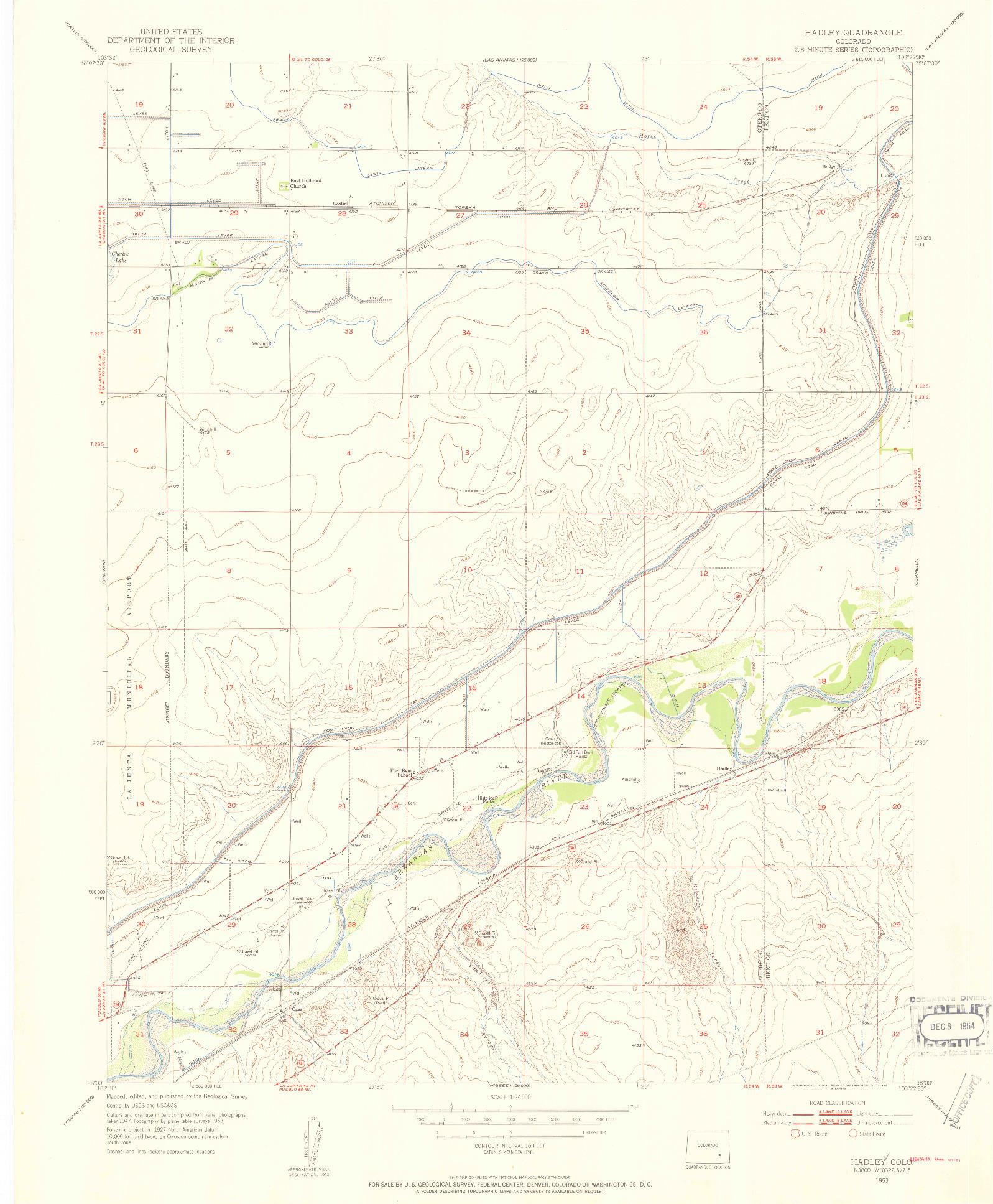 USGS 1:24000-SCALE QUADRANGLE FOR HADLEY, CO 1953