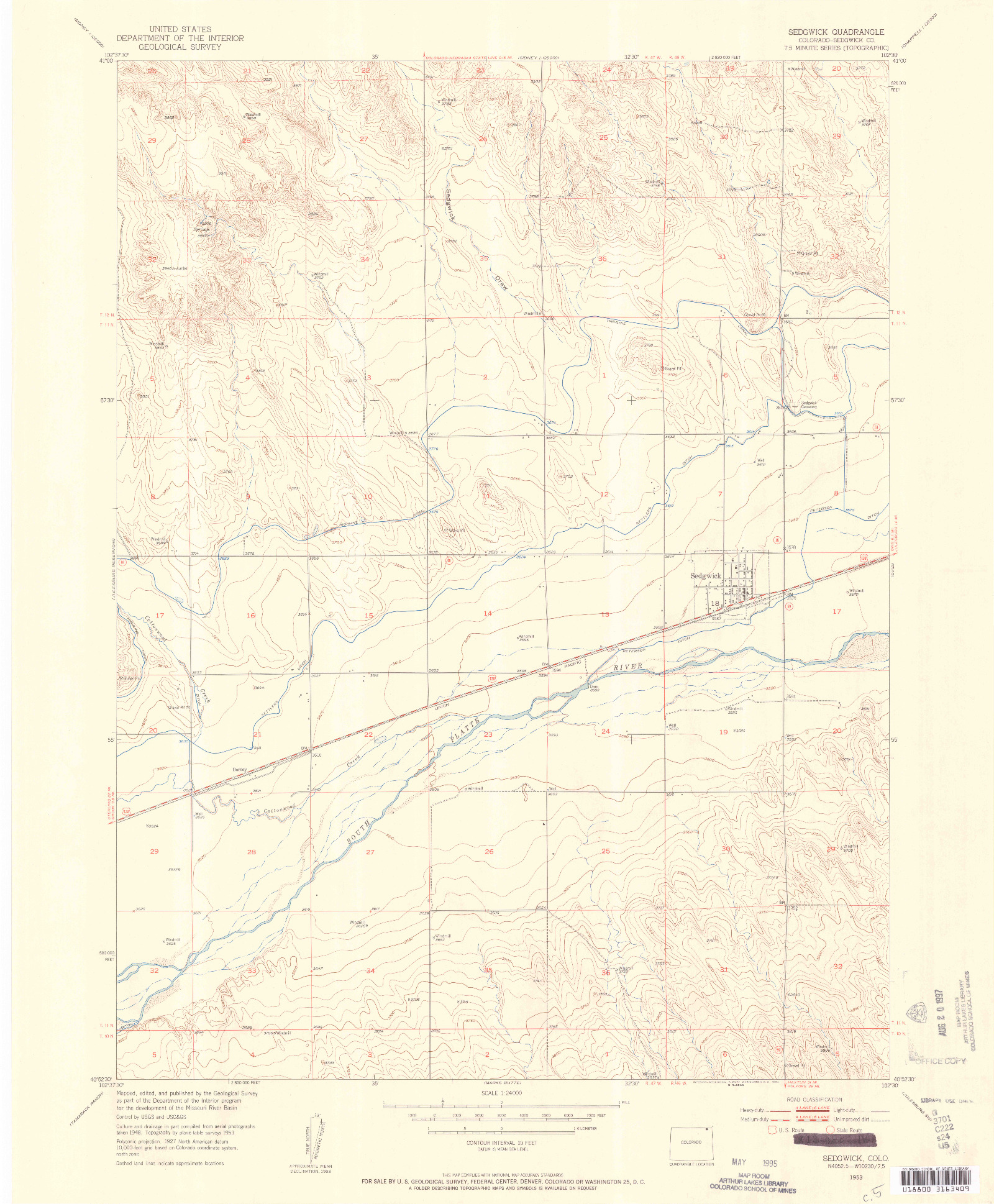 USGS 1:24000-SCALE QUADRANGLE FOR SEDGWICK, CO 1953