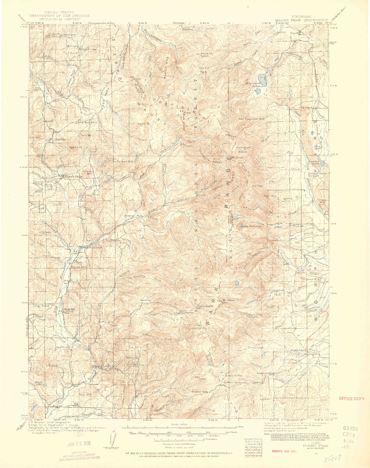 USGS 1:125000-SCALE QUADRANGLE FOR HAHNS PEAK, CO 1911