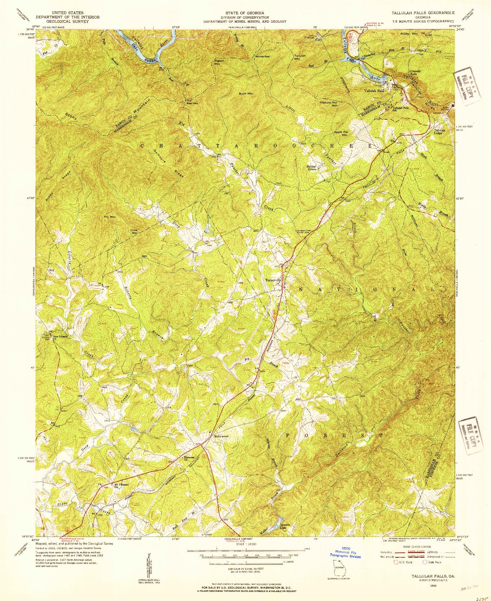 USGS 1:24000-SCALE QUADRANGLE FOR TALLULAH FALLS, GA 1953