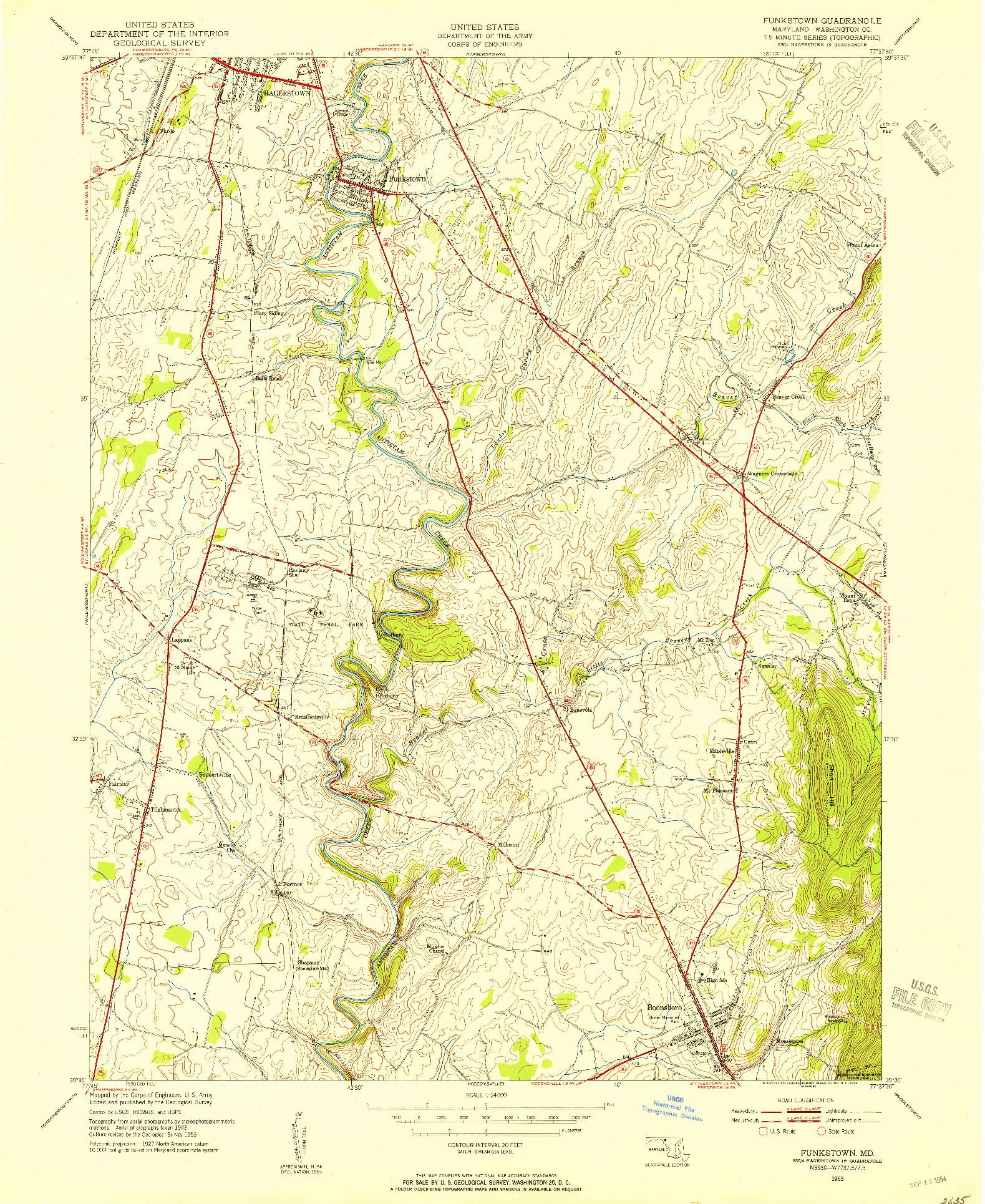 USGS 1:24000-SCALE QUADRANGLE FOR FUNKSTOWN, MD 1953