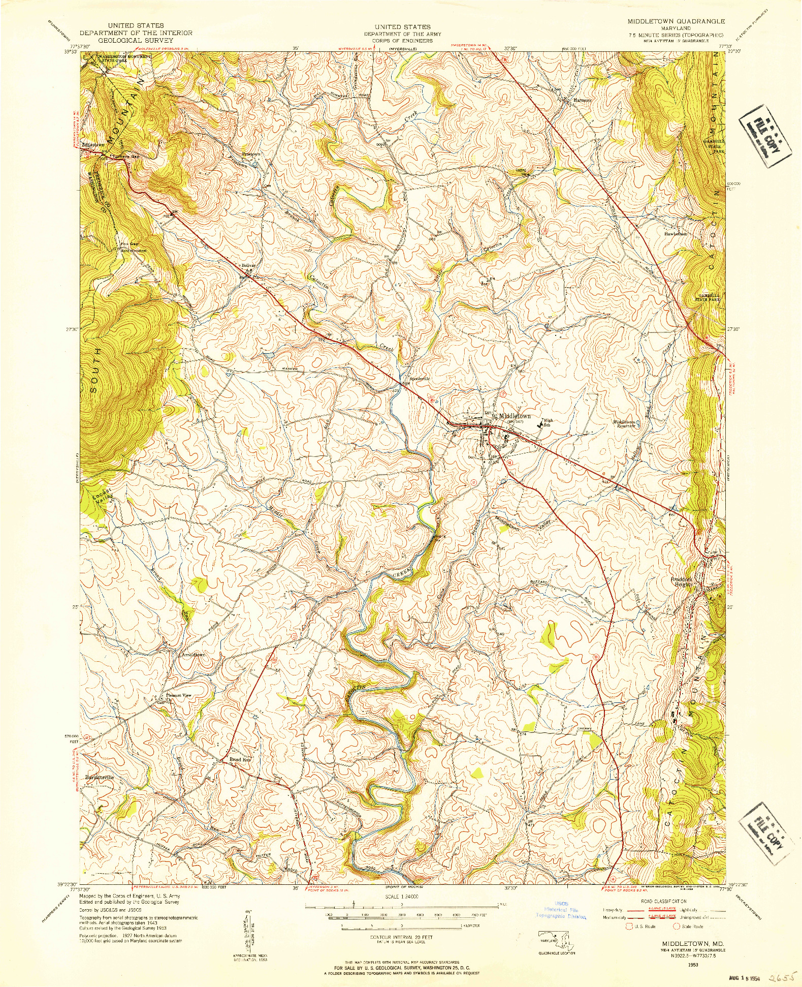 USGS 1:24000-SCALE QUADRANGLE FOR MIDDLETOWN, MD 1953