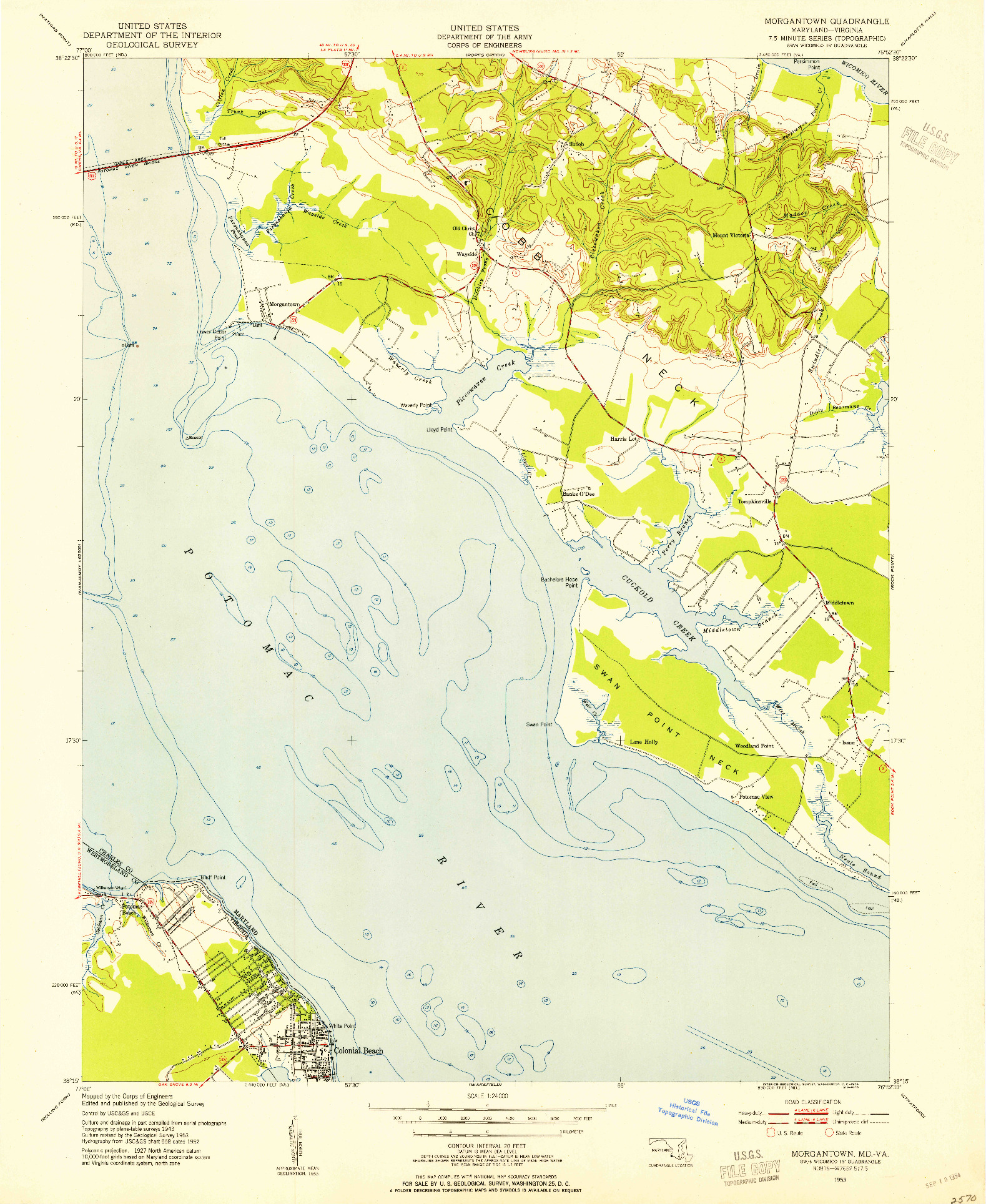 USGS 1:24000-SCALE QUADRANGLE FOR MORGANTOWN, MD 1953