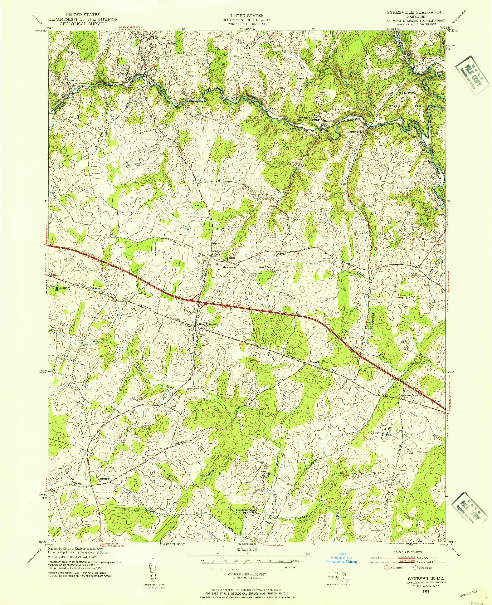 USGS 1:24000-SCALE QUADRANGLE FOR SYKESVILLE, MD 1953