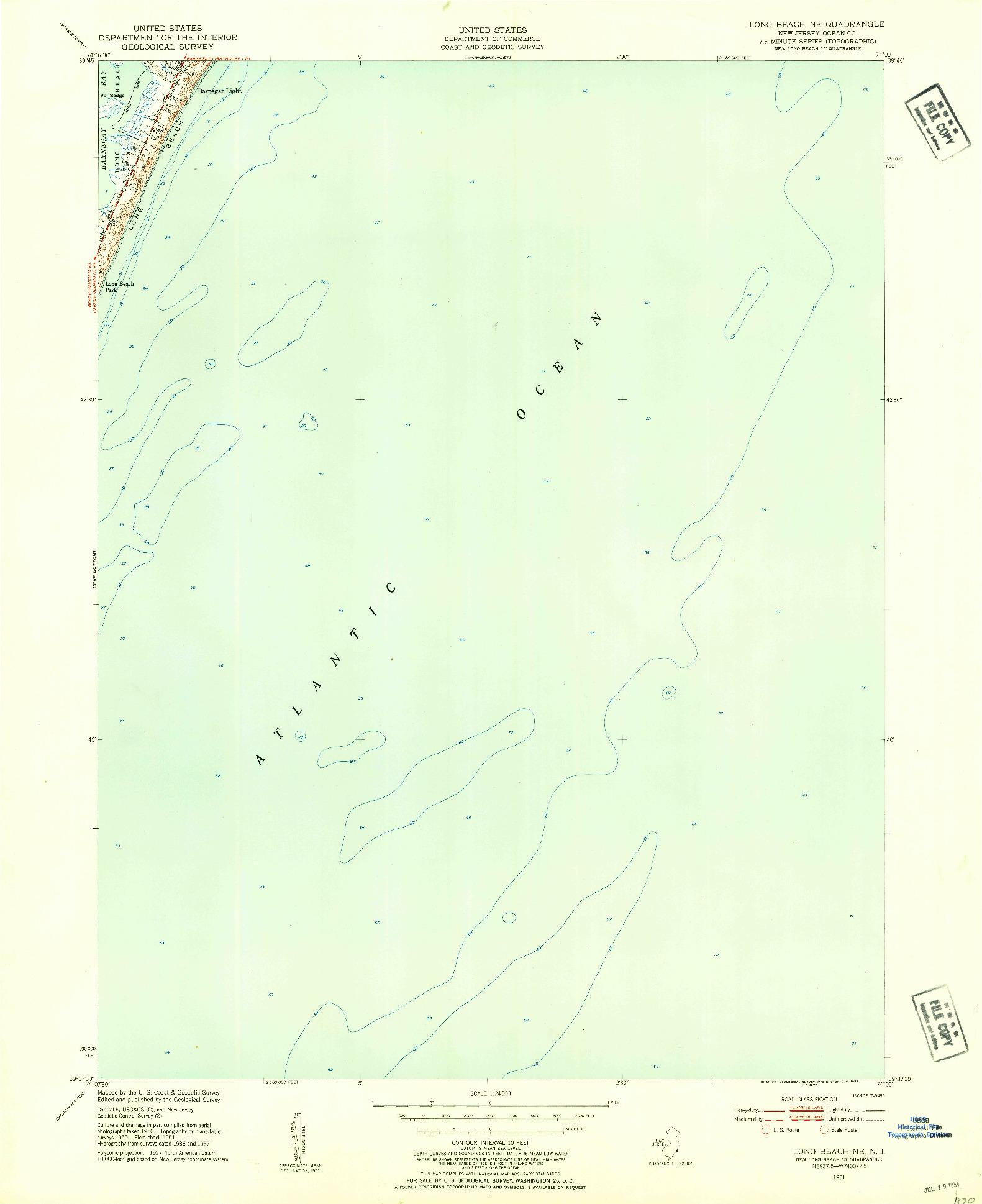 USGS 1:24000-SCALE QUADRANGLE FOR LONG BEACH NE, NJ 1951