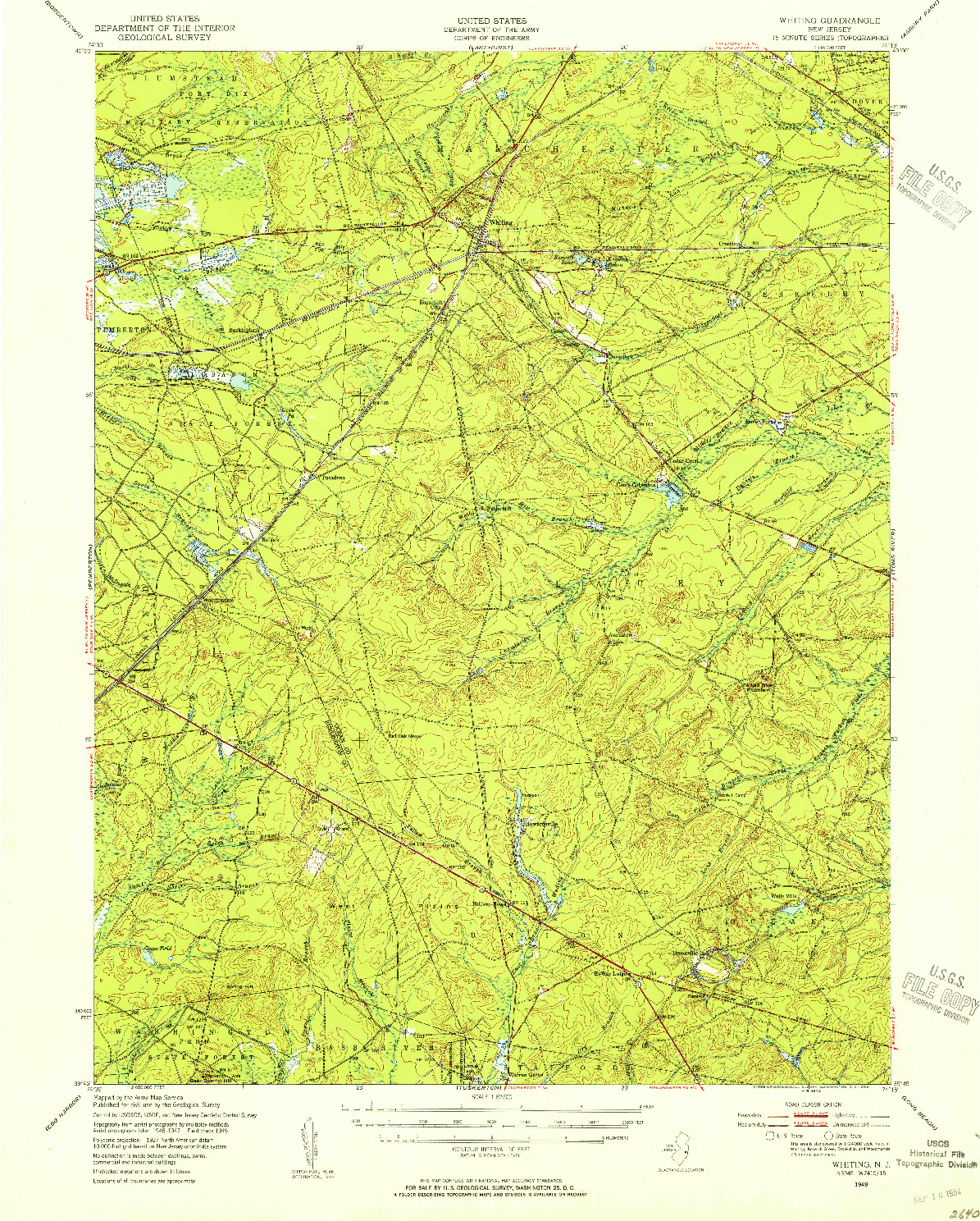 USGS 1:62500-SCALE QUADRANGLE FOR WHITING, NJ 1949