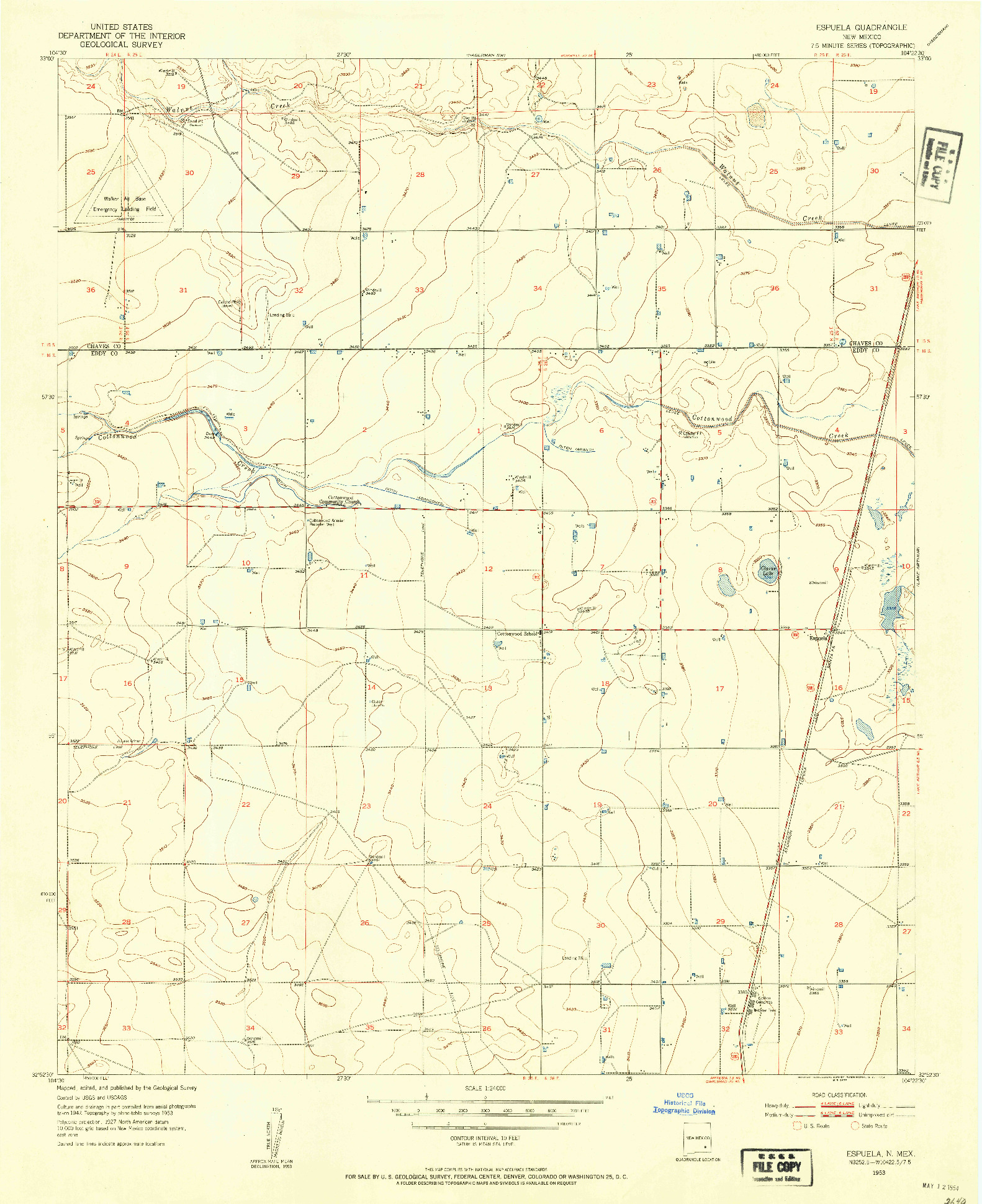 USGS 1:24000-SCALE QUADRANGLE FOR ESPUELA, NM 1953