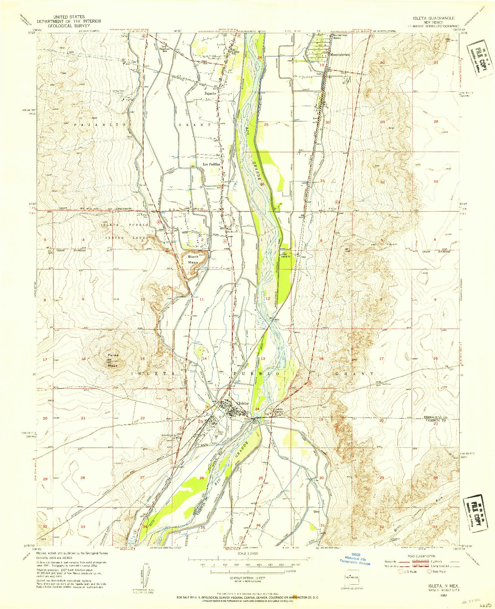USGS 1:24000-SCALE QUADRANGLE FOR ISLETA, NM 1952