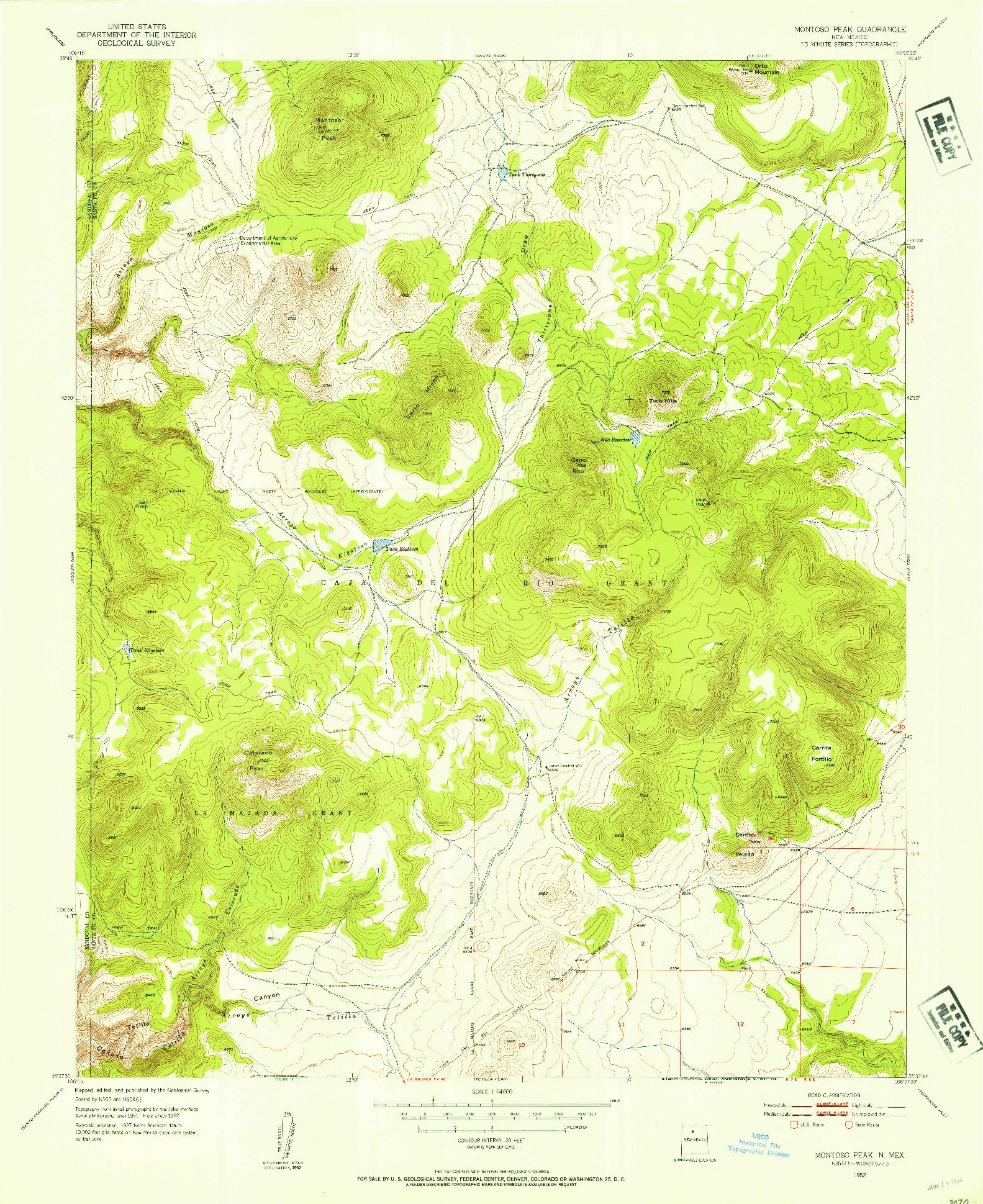 USGS 1:24000-SCALE QUADRANGLE FOR MONTOSO PEAK, NM 1952