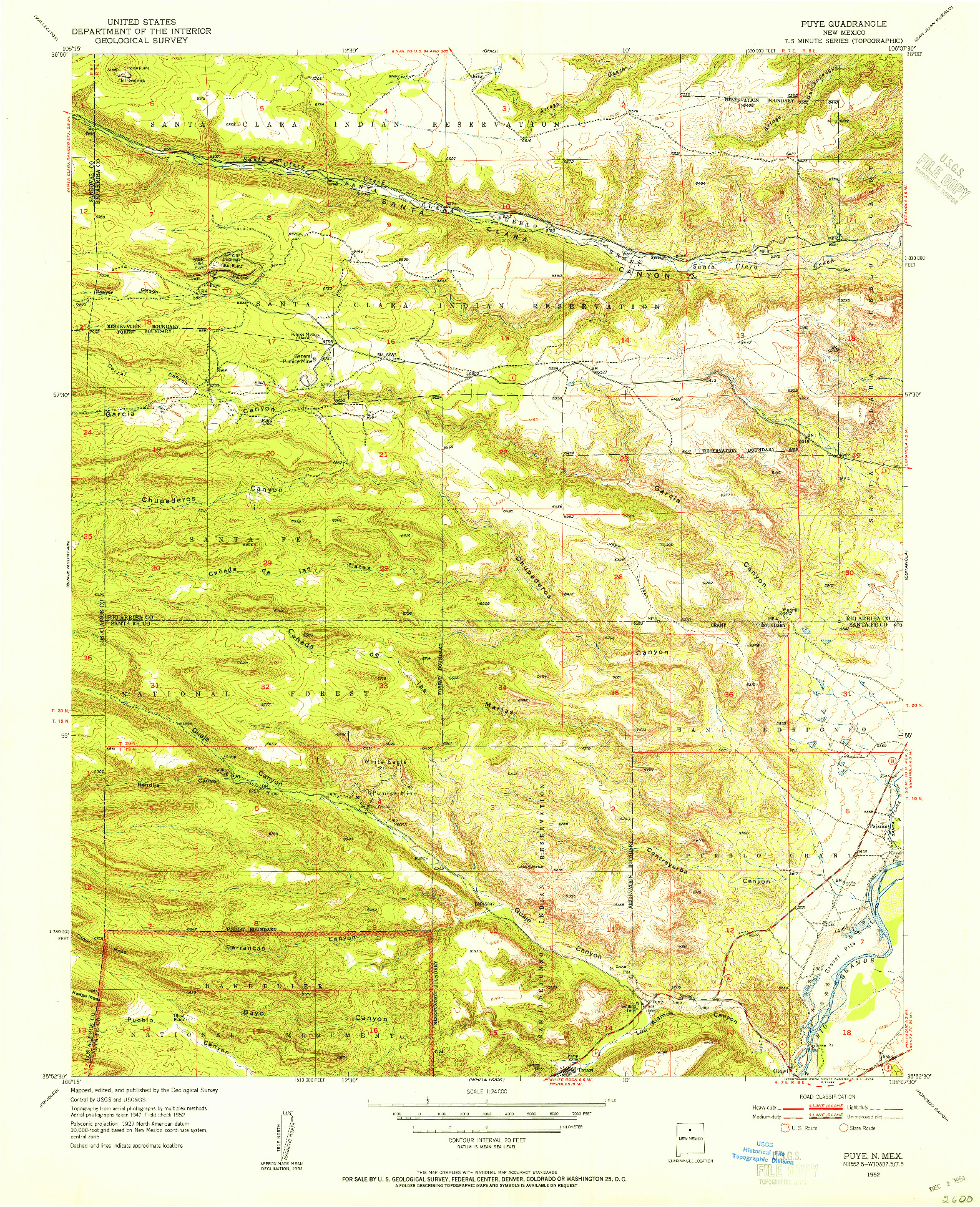 USGS 1:24000-SCALE QUADRANGLE FOR PUYE, NM 1952
