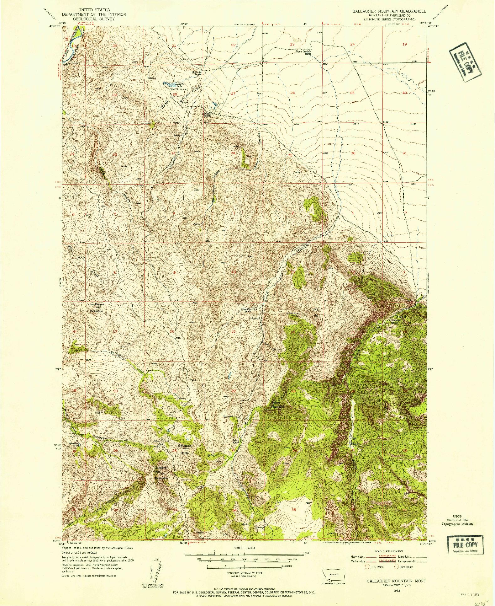 USGS 1:24000-SCALE QUADRANGLE FOR GALLAGHER MOUNTAIN, MT 1952