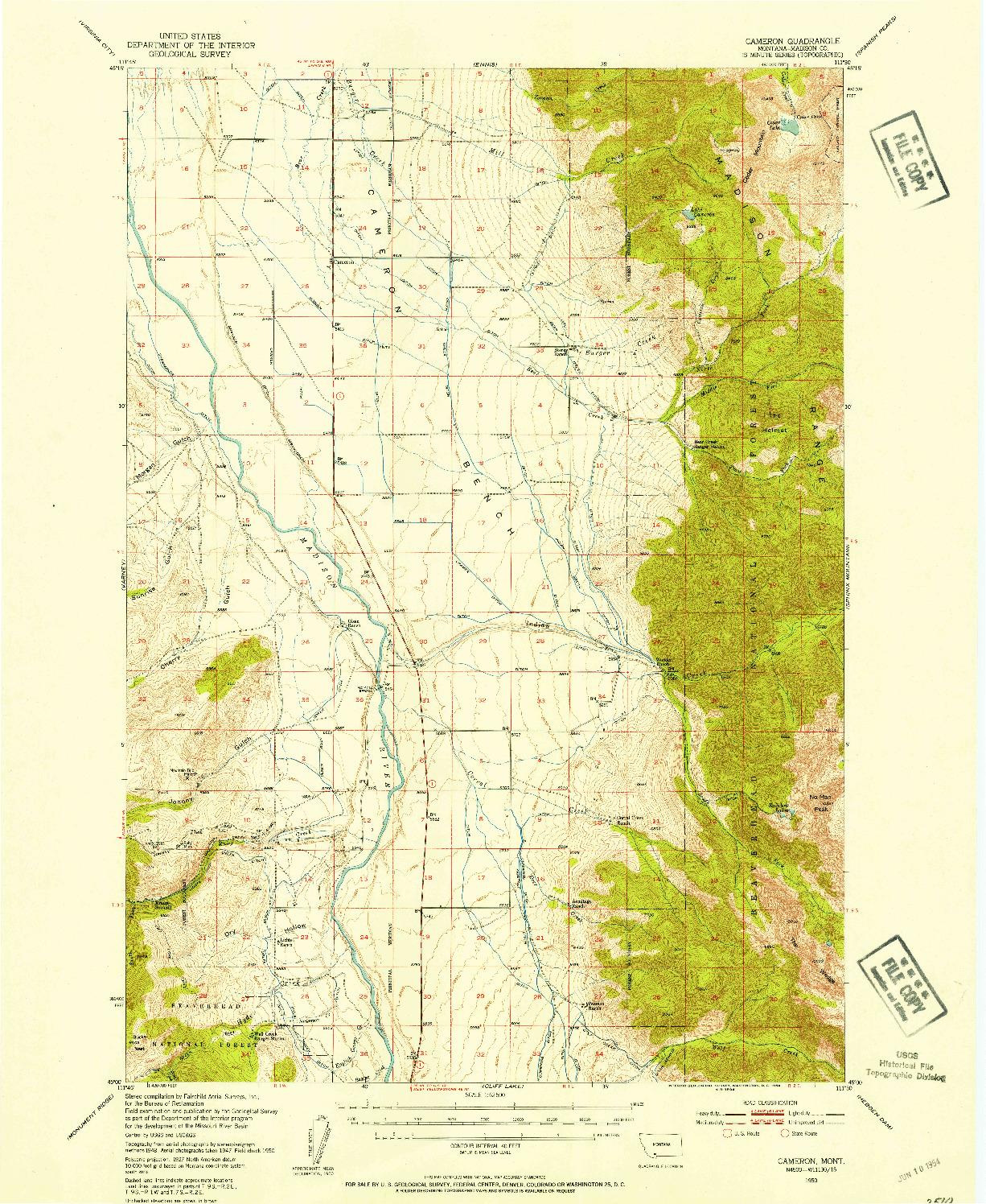 USGS 1:62500-SCALE QUADRANGLE FOR CAMERON, MT 1950