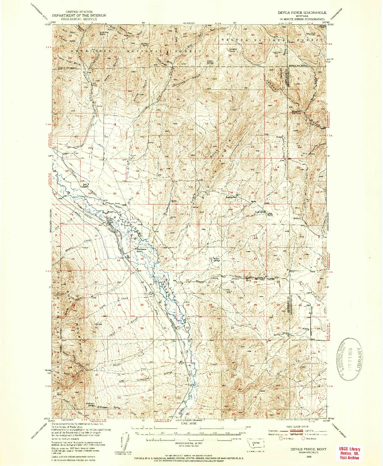 USGS 1:62500-SCALE QUADRANGLE FOR DEVILS FENCE, MT 1950