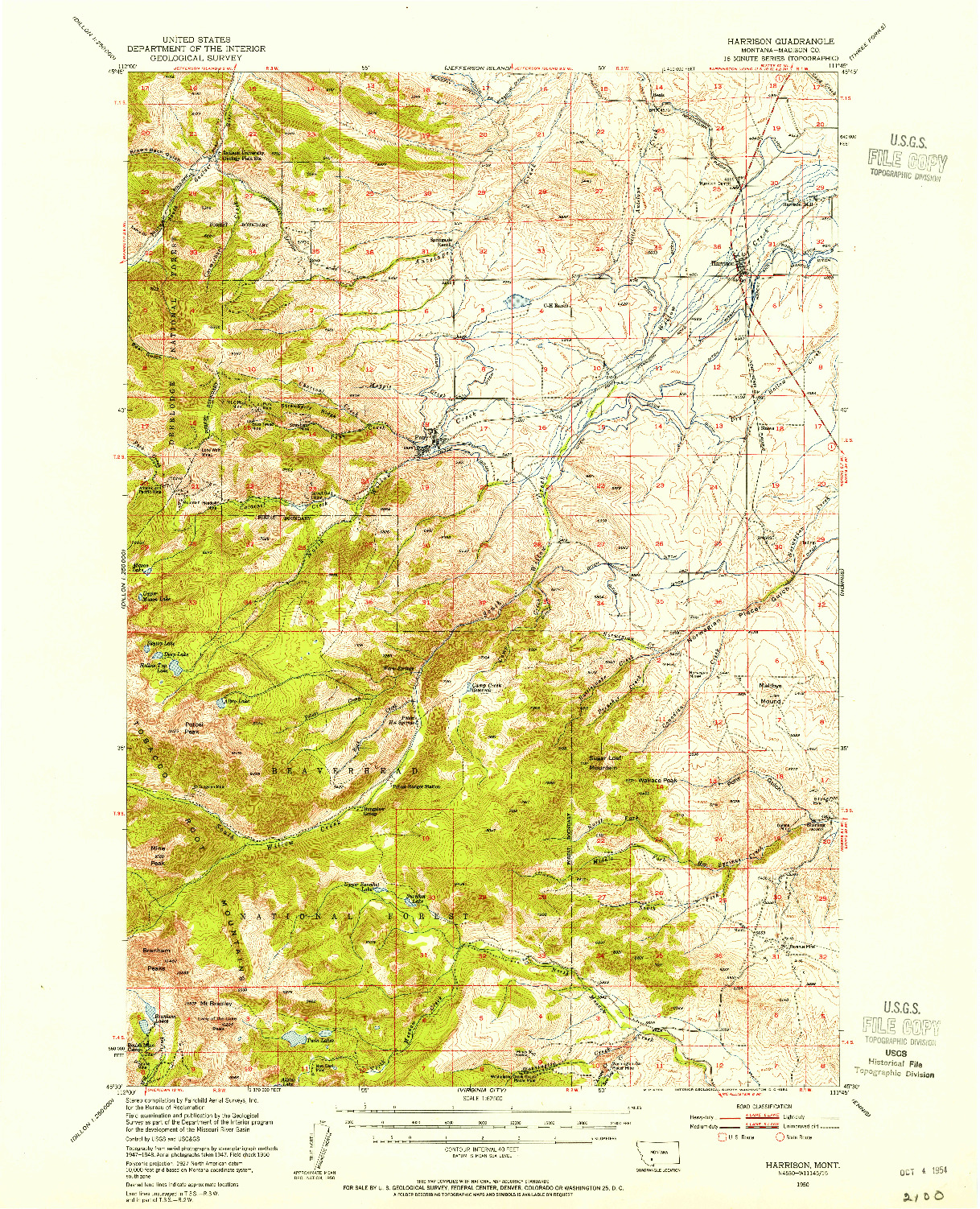 USGS 1:62500-SCALE QUADRANGLE FOR HARRISON, MT 1950