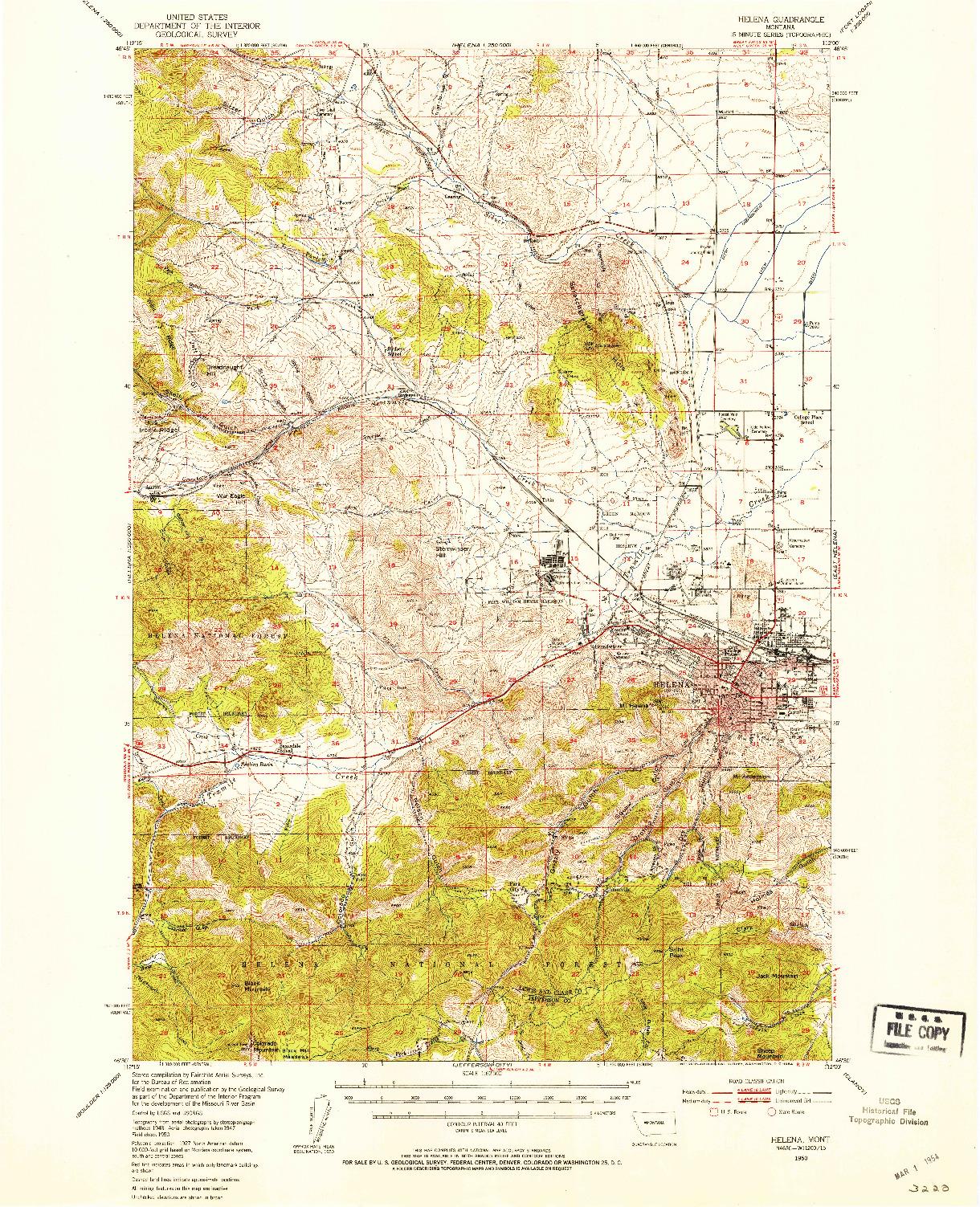 USGS 1:62500-SCALE QUADRANGLE FOR HELENA, MT 1950