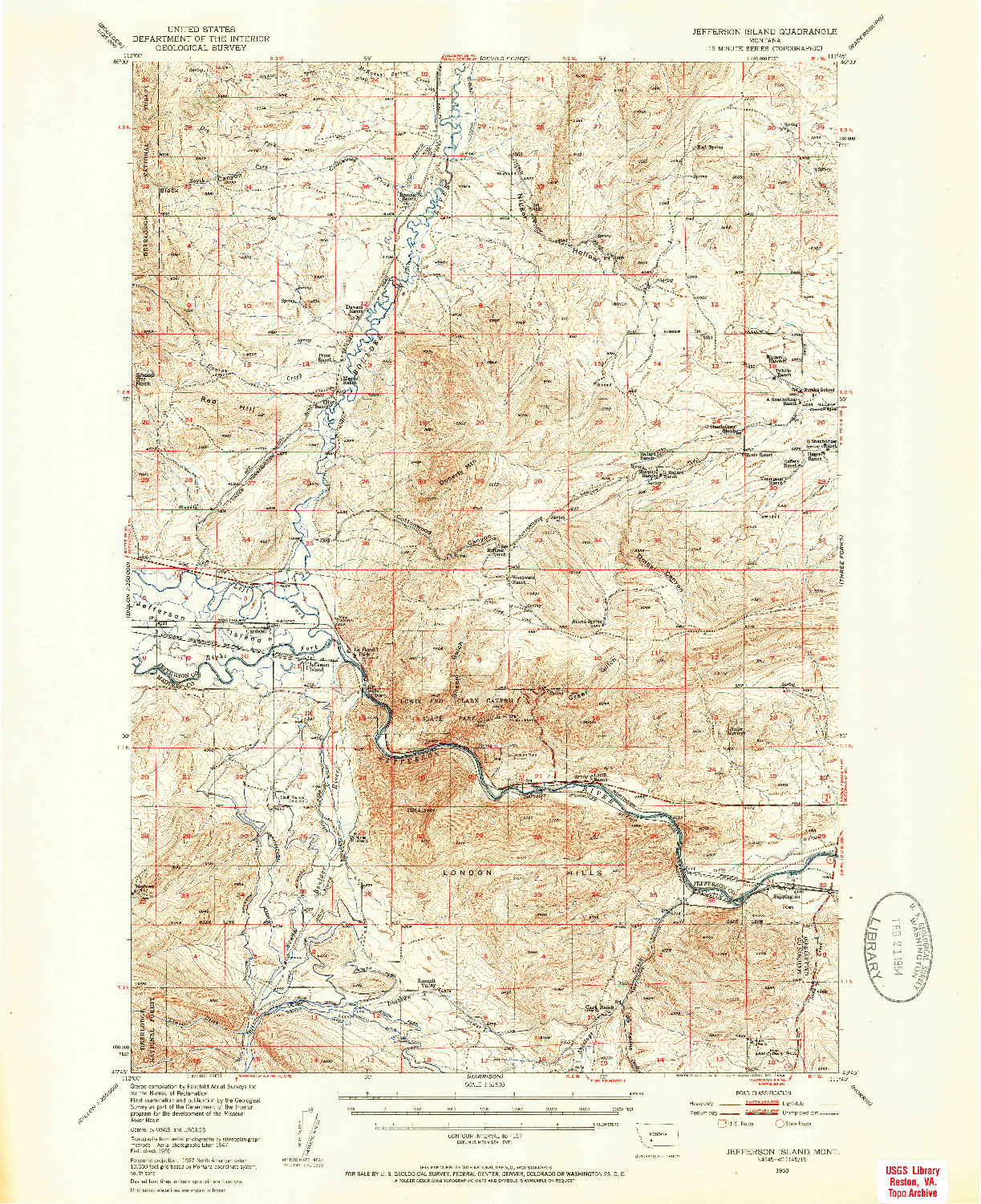 USGS 1:62500-SCALE QUADRANGLE FOR JEFFERSON ISLAND, MT 1950