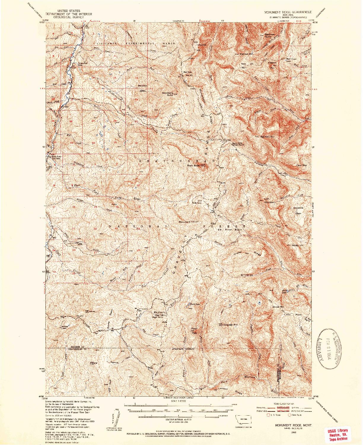 USGS 1:62500-SCALE QUADRANGLE FOR MONUMENT RIDGE, MT 1950