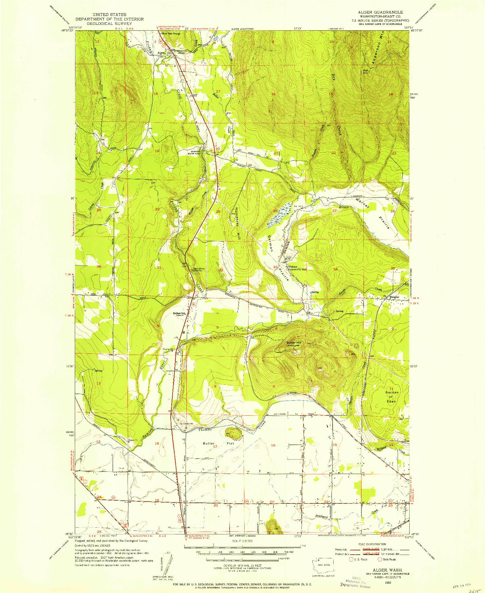 USGS 1:24000-SCALE QUADRANGLE FOR ALGER, WA 1952