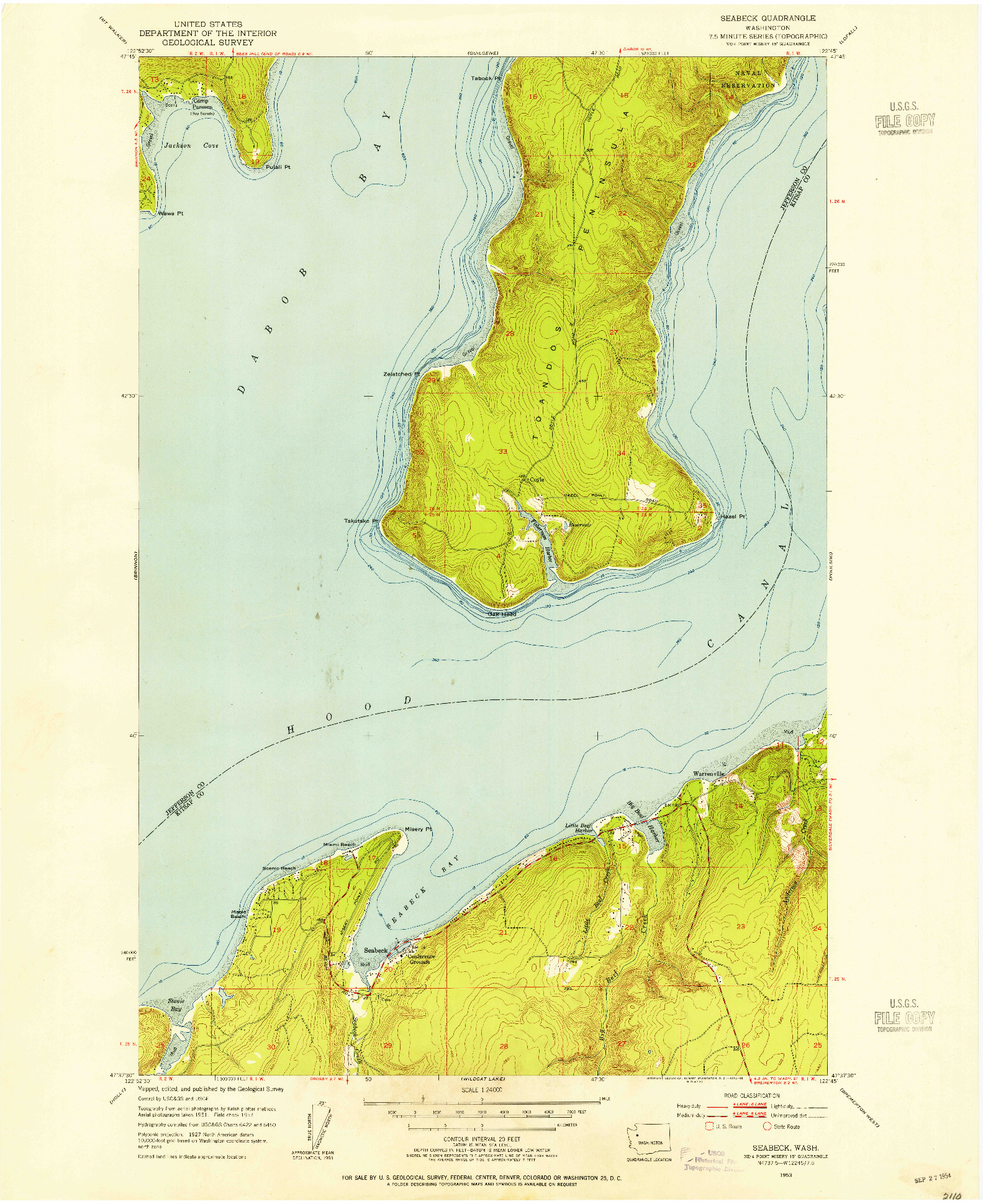 USGS 1:24000-SCALE QUADRANGLE FOR SEABECK, WA 1953