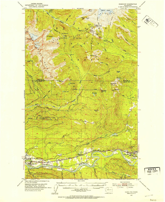 USGS 1:62500-SCALE QUADRANGLE FOR HAMILTON, WA 1952
