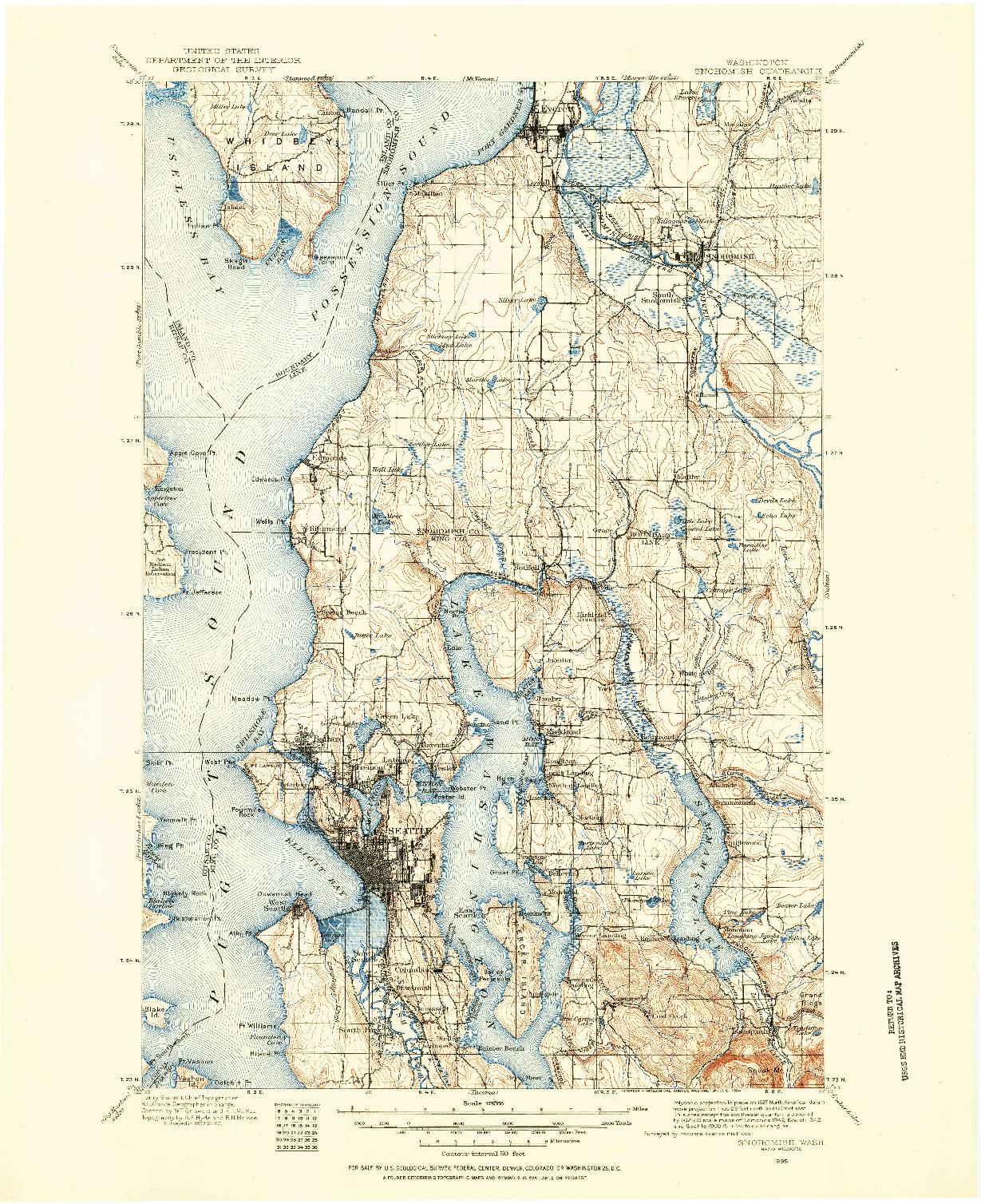 USGS 1:125000-SCALE QUADRANGLE FOR SNOHOMISH, WA 1895