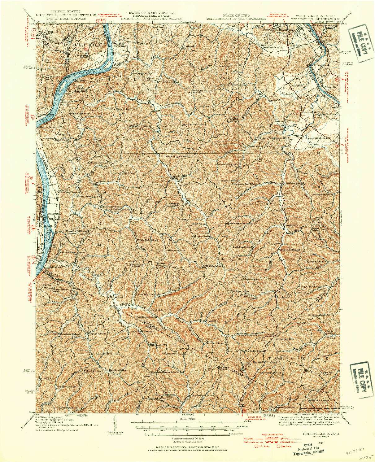 USGS 1:62500-SCALE QUADRANGLE FOR BELLEVILLE, WV 1924
