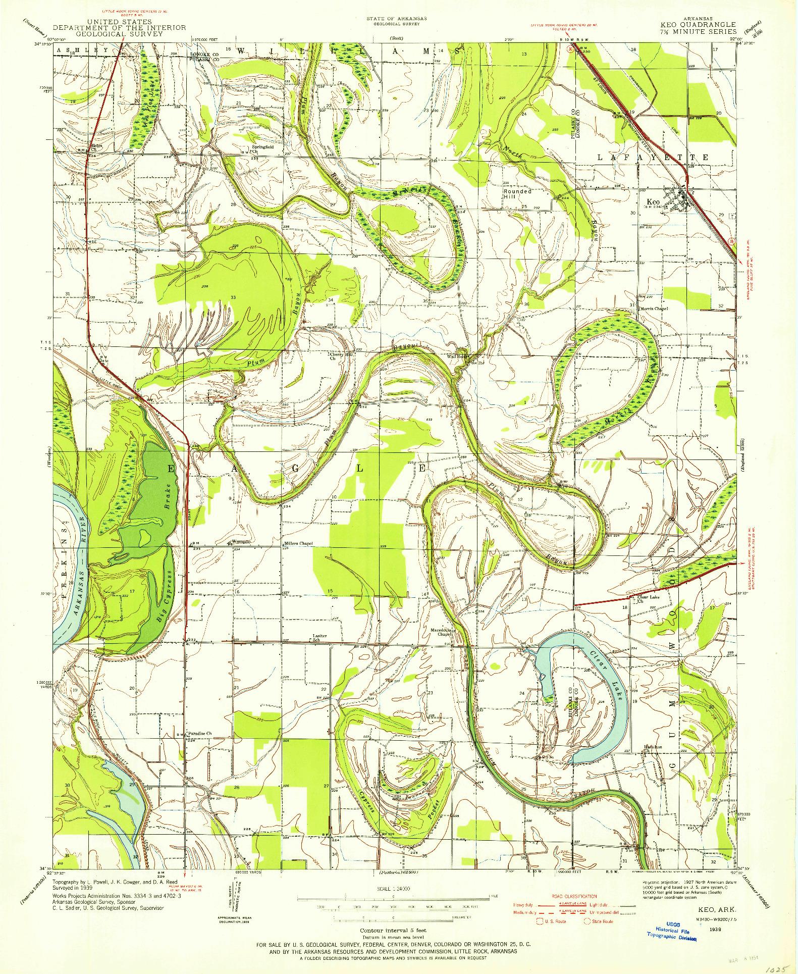 USGS 1:24000-SCALE QUADRANGLE FOR KEO, AR 1939