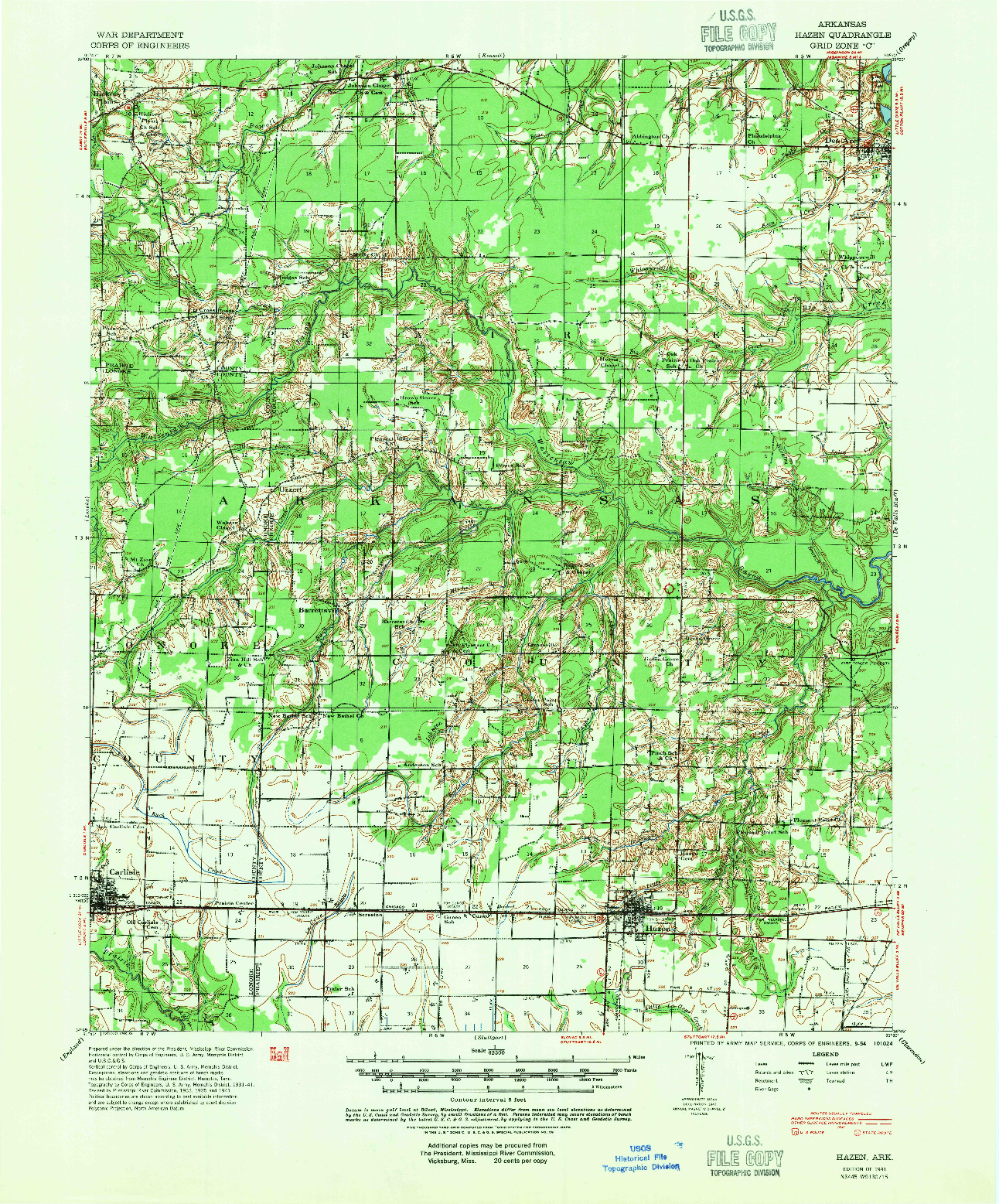 USGS 1:62500-SCALE QUADRANGLE FOR HAZEN, AR 1941