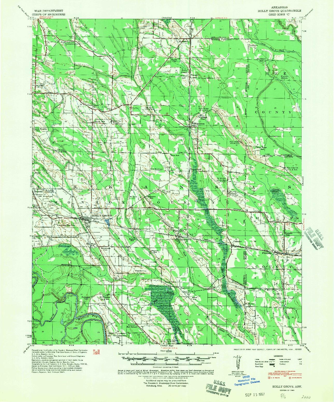 USGS 1:62500-SCALE QUADRANGLE FOR HOLLY GROVE, AR 1940