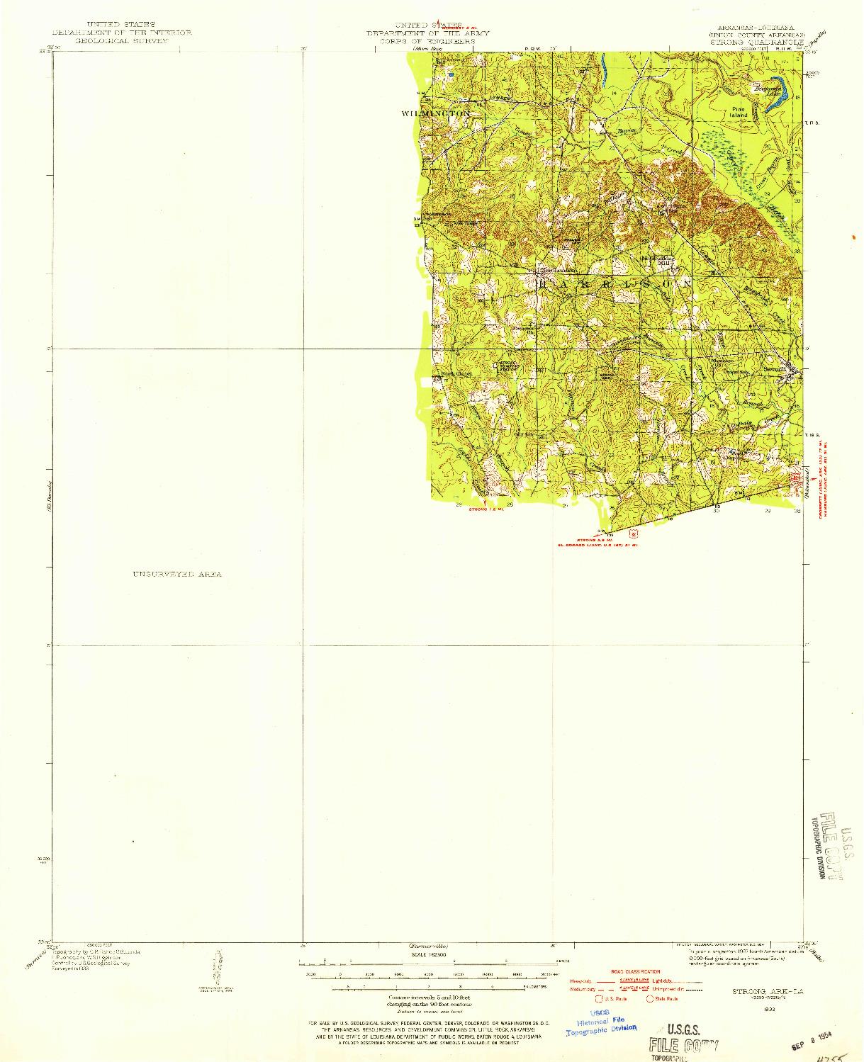 USGS 1:62500-SCALE QUADRANGLE FOR STRONG, AR 1933