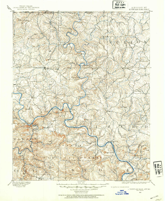 USGS 1:125000-SCALE QUADRANGLE FOR MOUNTAIN HOME, AR 1890