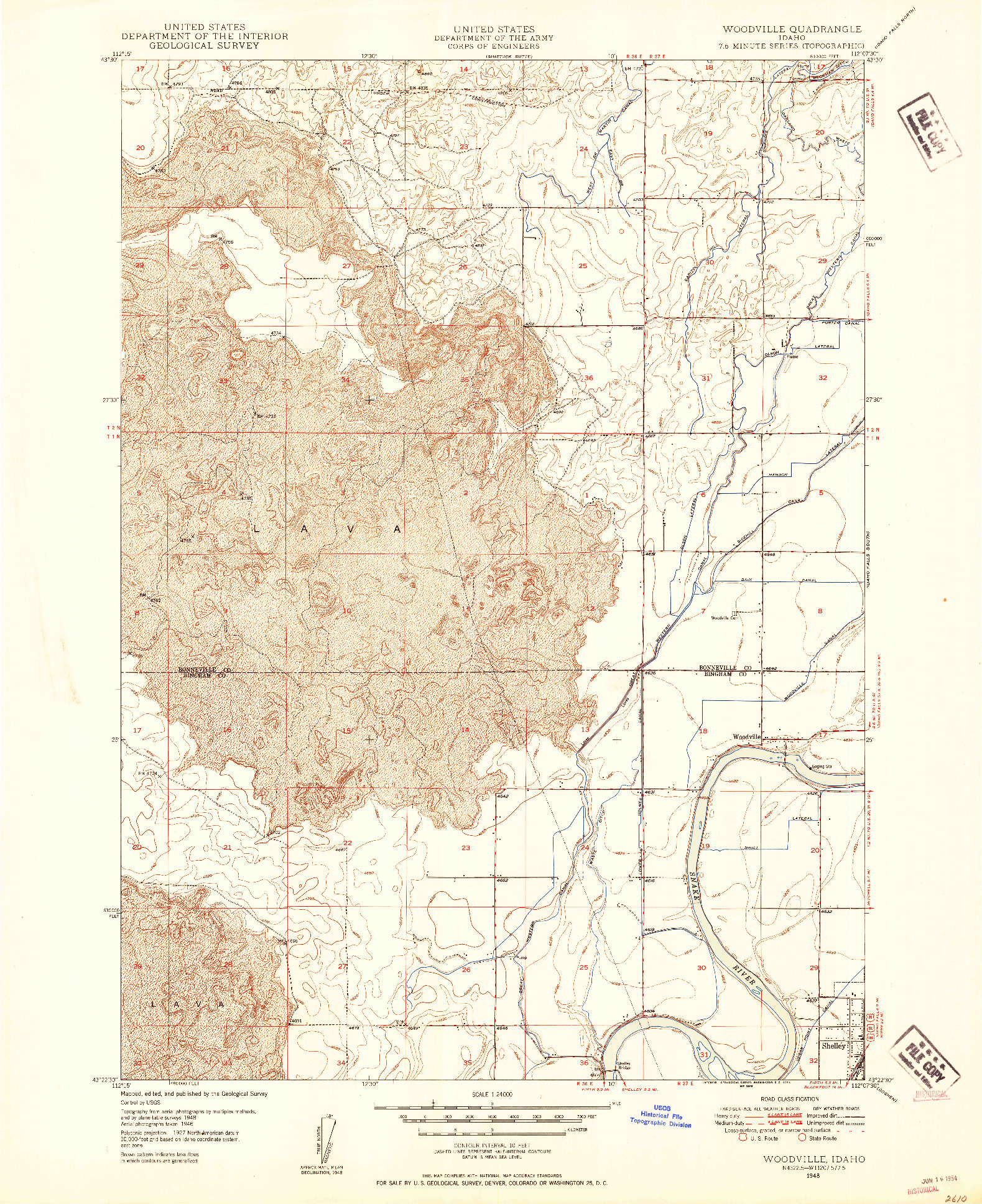 USGS 1:24000-SCALE QUADRANGLE FOR WOODVILLE, ID 1948