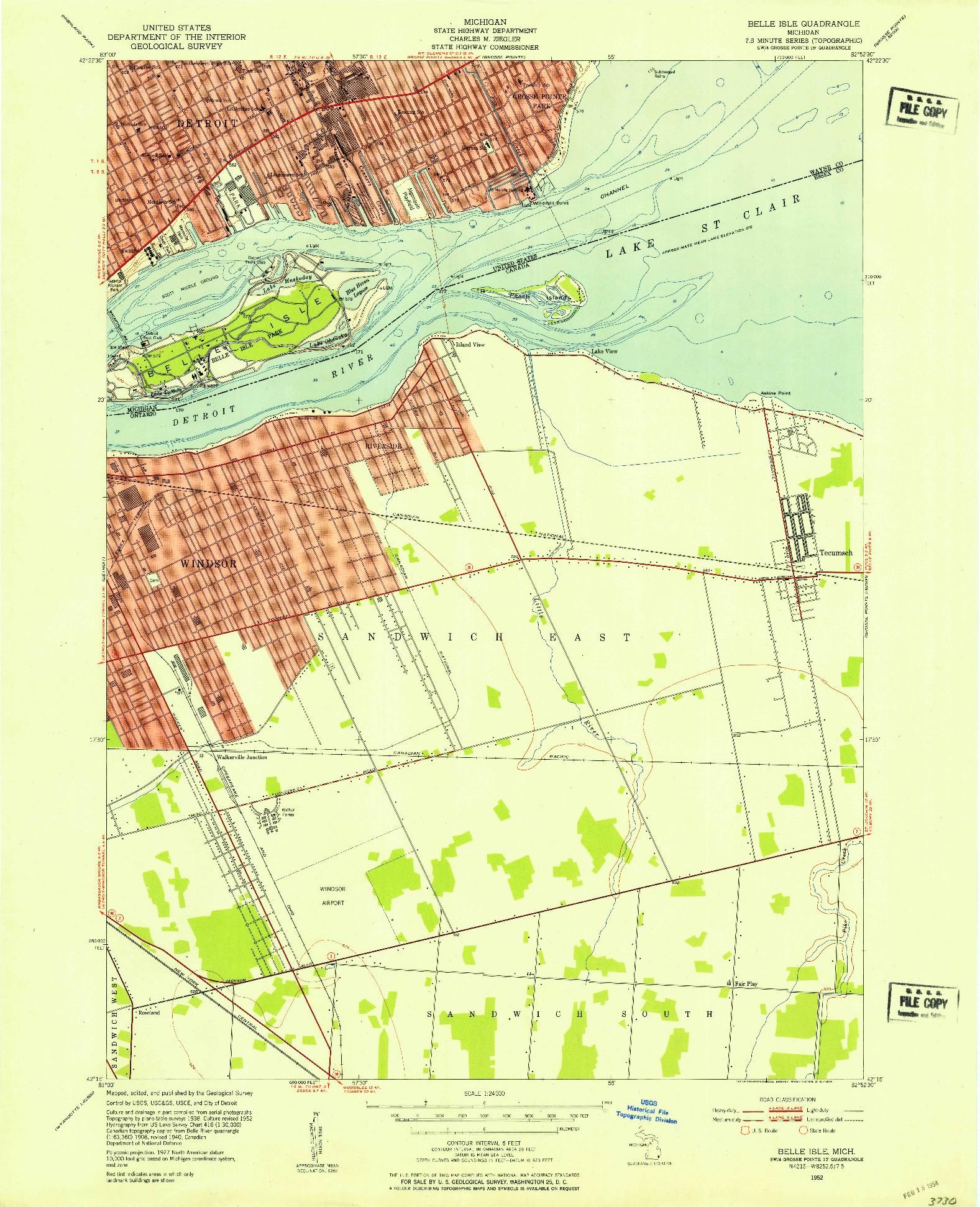 USGS 1:24000-SCALE QUADRANGLE FOR BELLE ISLE, MI 1952