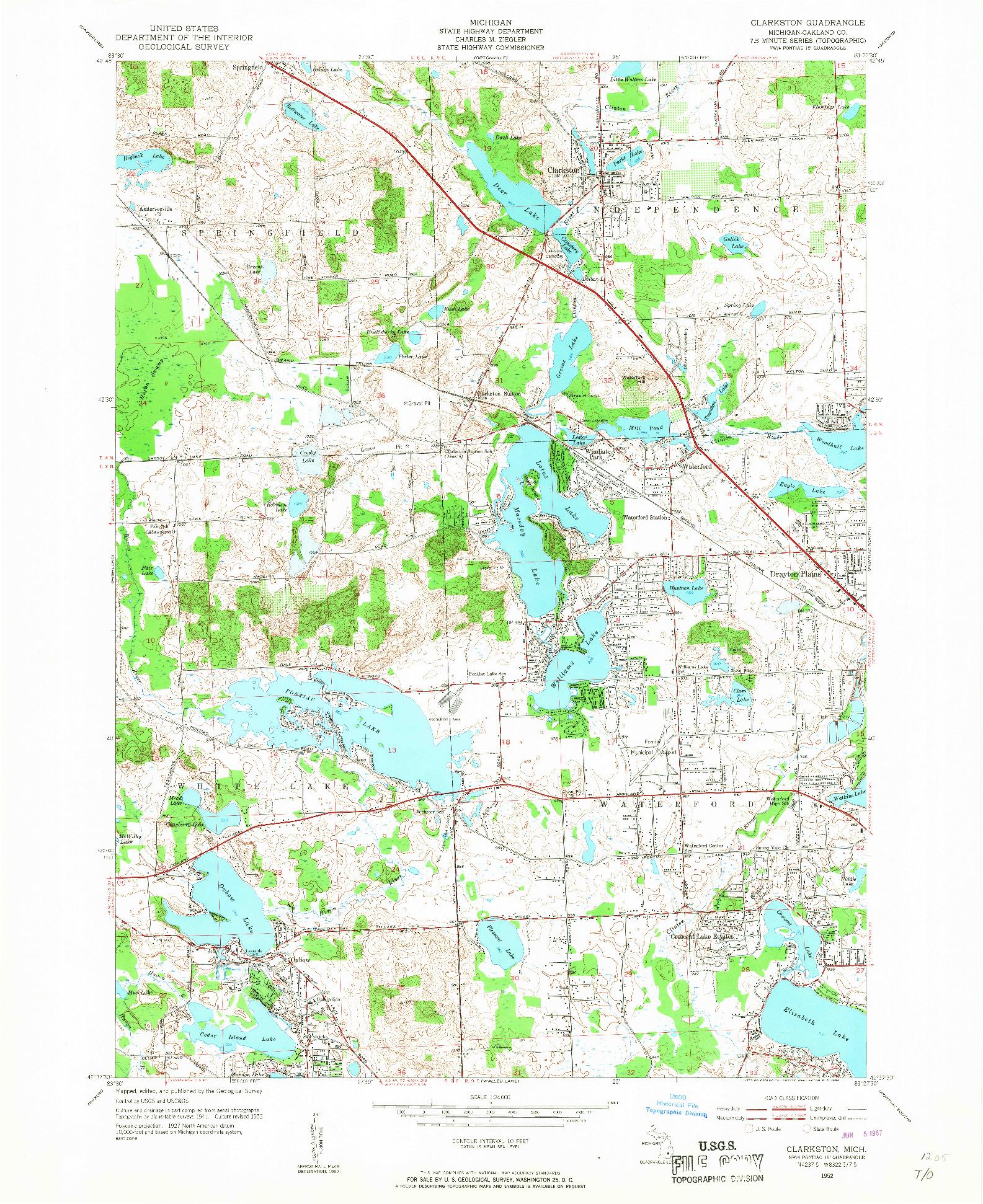 USGS 1:24000-SCALE QUADRANGLE FOR CLARKSTON, MI 1952