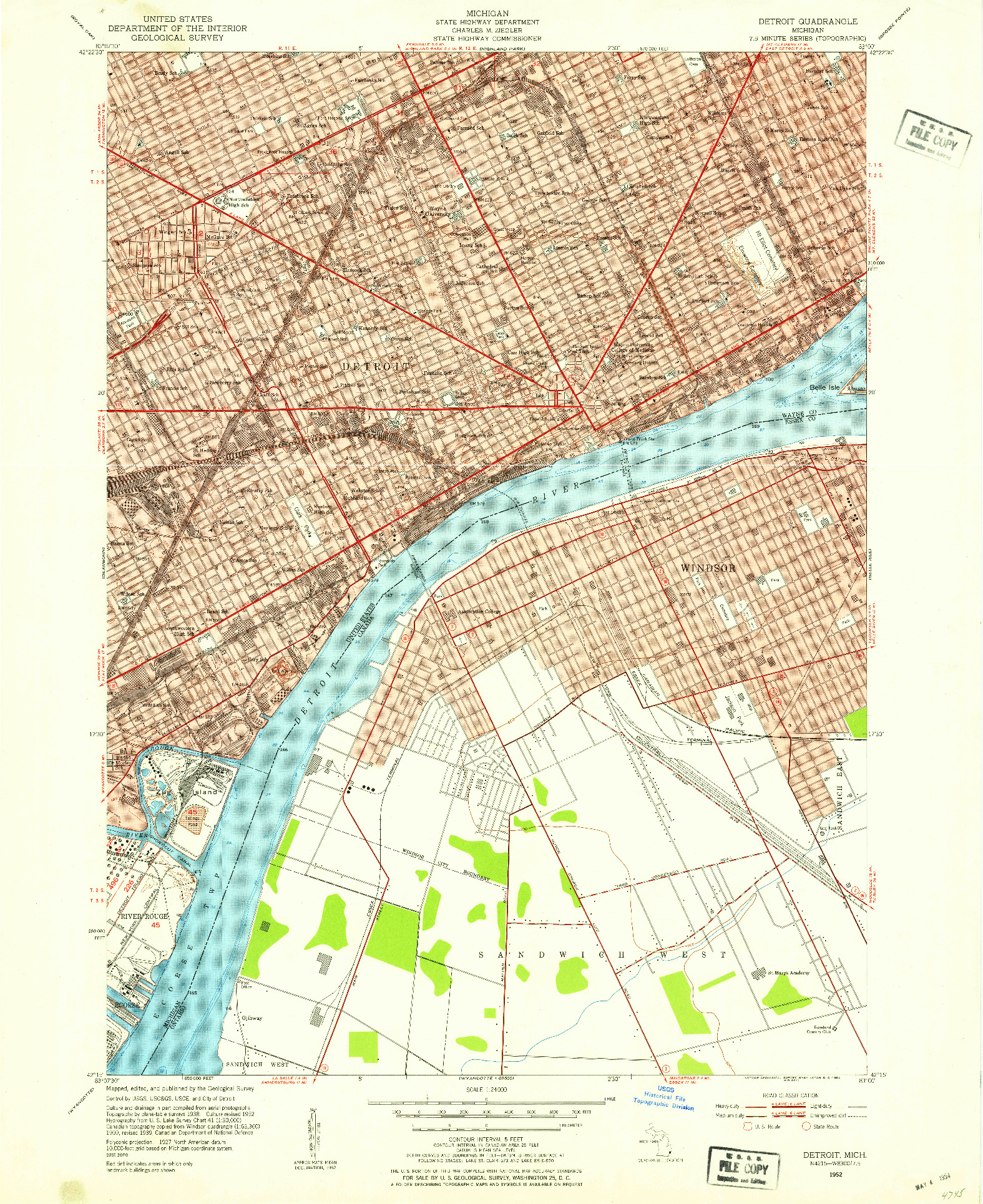 USGS 1:24000-SCALE QUADRANGLE FOR DETROIT, MI 1952