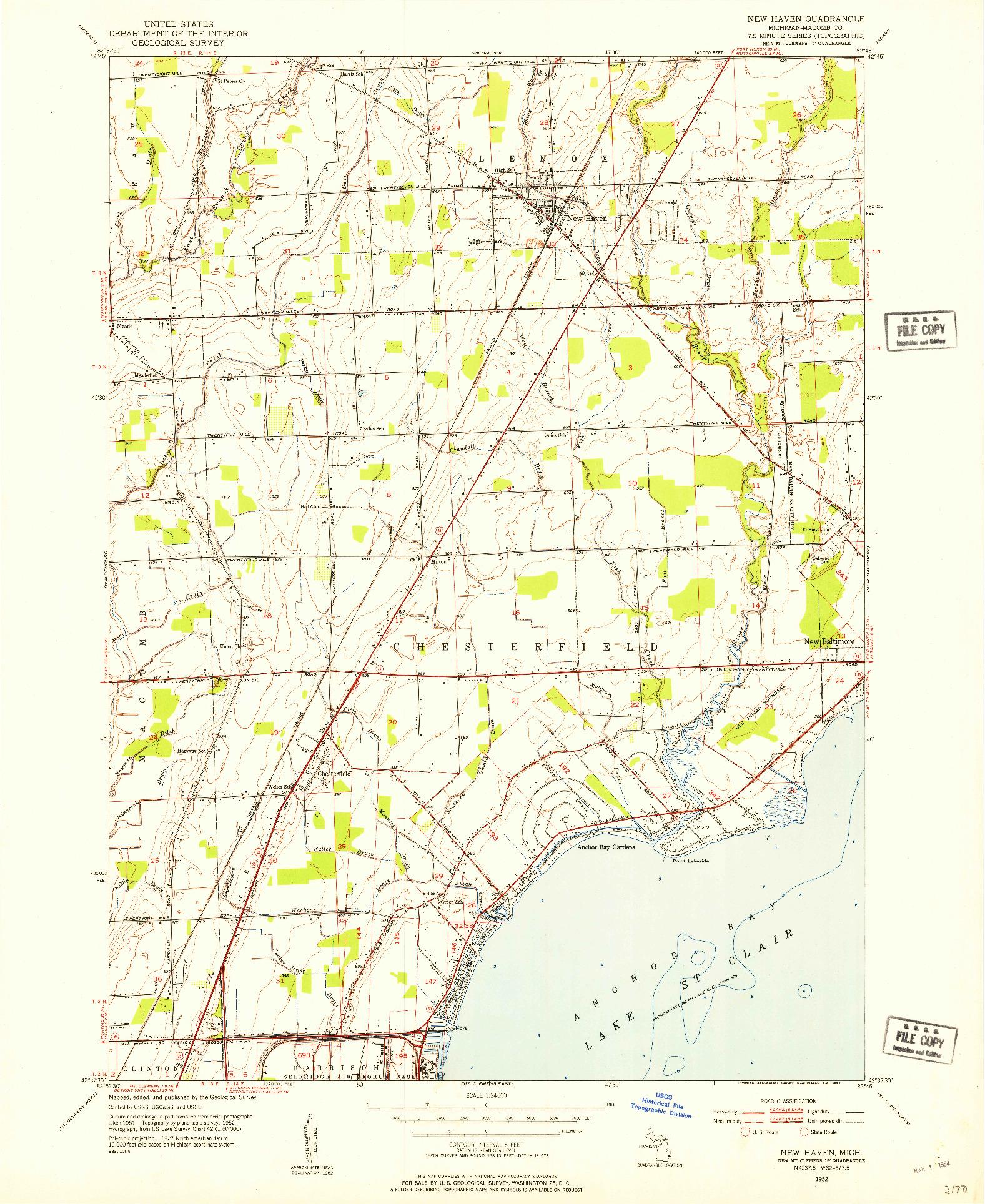 USGS 1:24000-SCALE QUADRANGLE FOR NEW HAVEN, MI 1952