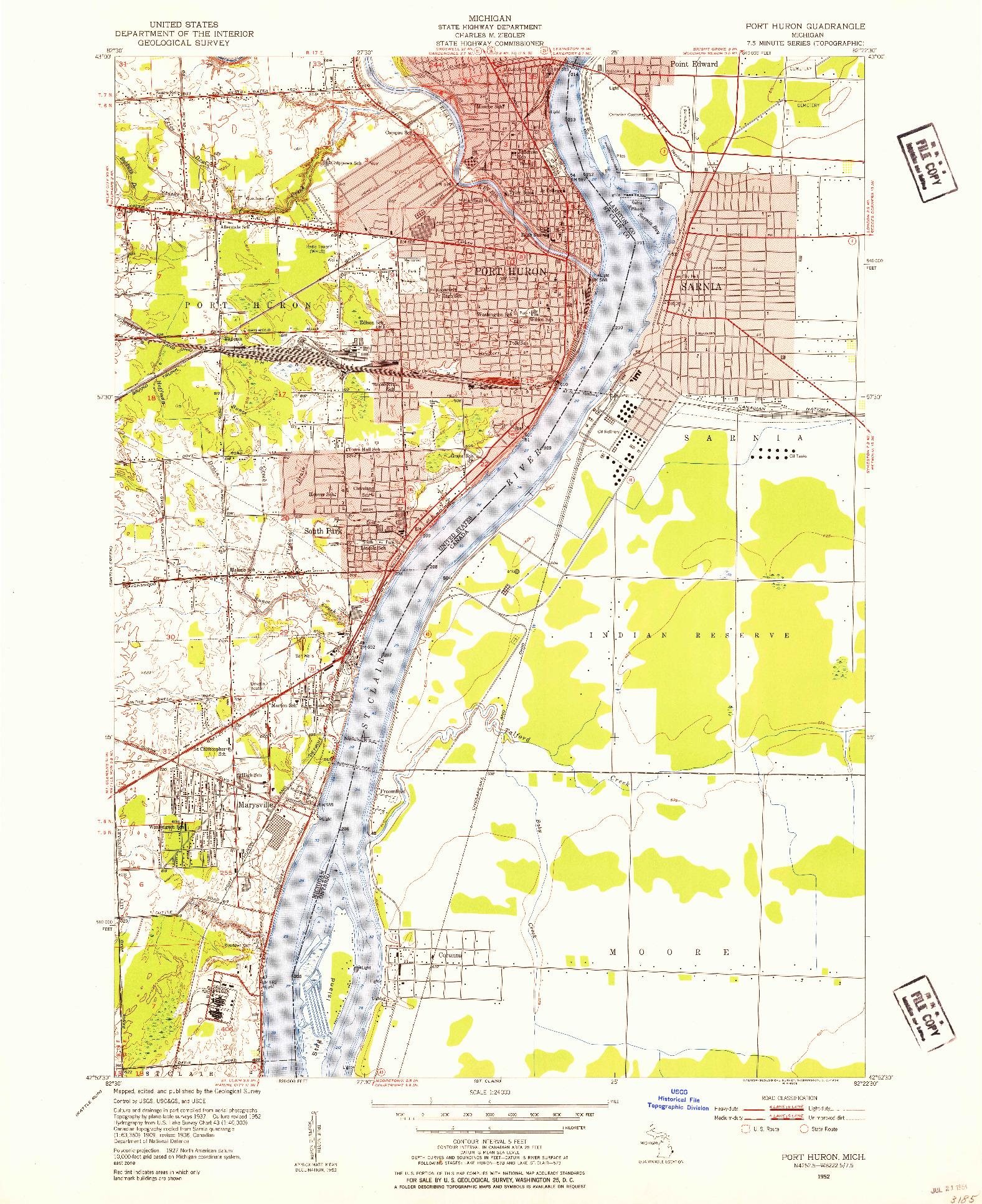 USGS 1:24000-SCALE QUADRANGLE FOR PORT HURON, MI 1952